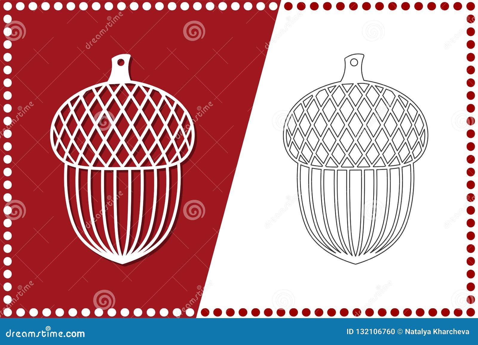 Bellota moderna de la Navidad El juguete del Año Nuevo para el corte del laser Ilustración del vector