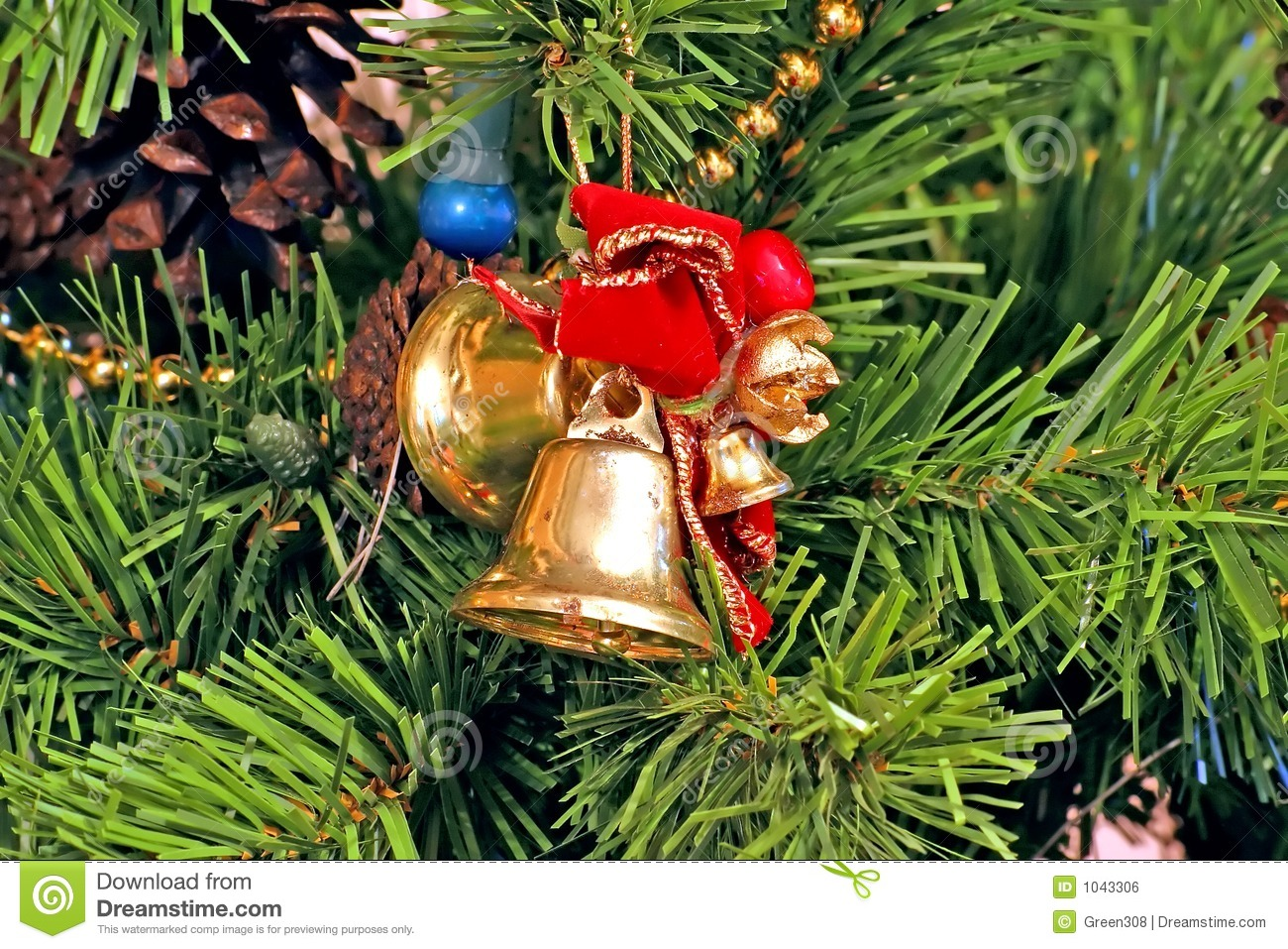 bells and bows christmas tree ornaments royalty free stock image