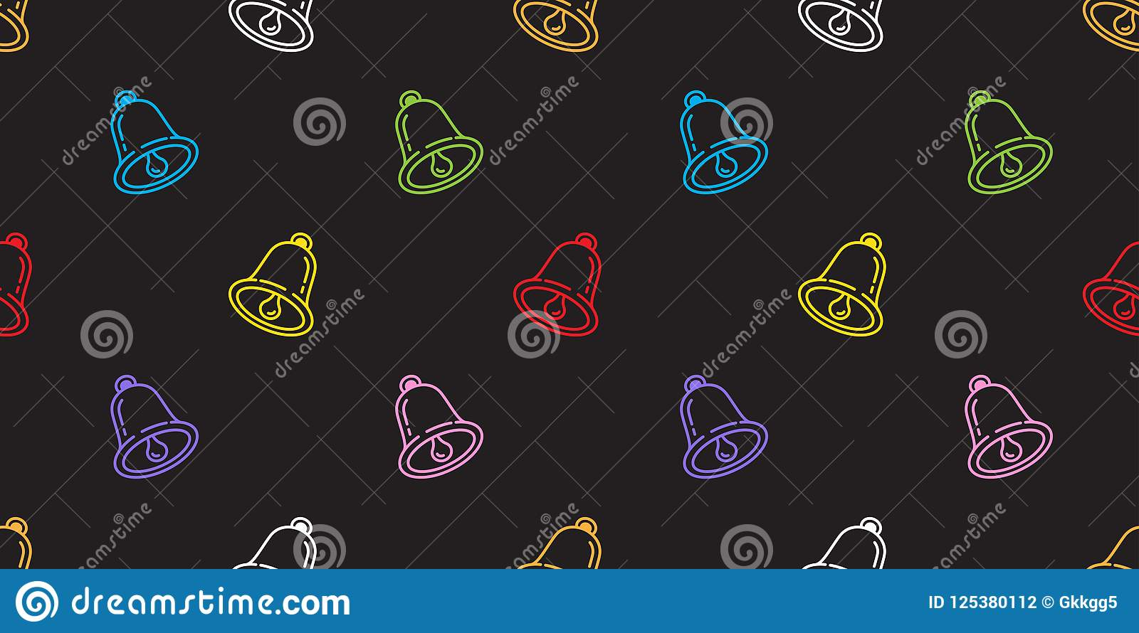 Bells Seamless Pattern Vector Christmas Ringing Isolated Icon