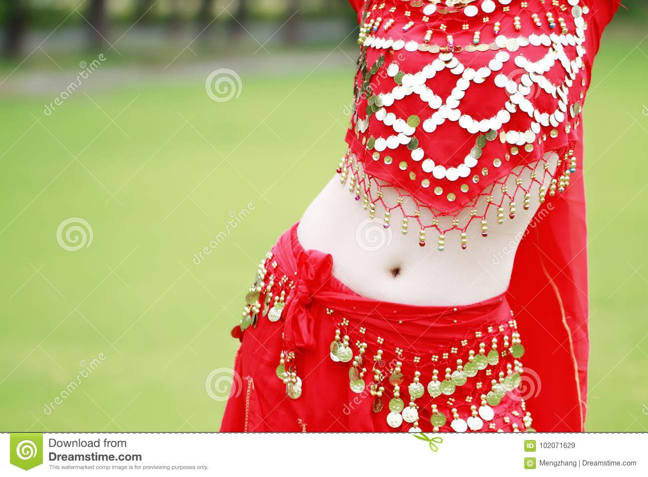 Belly Close Up Belly Dancer In Red Dress Stock Image