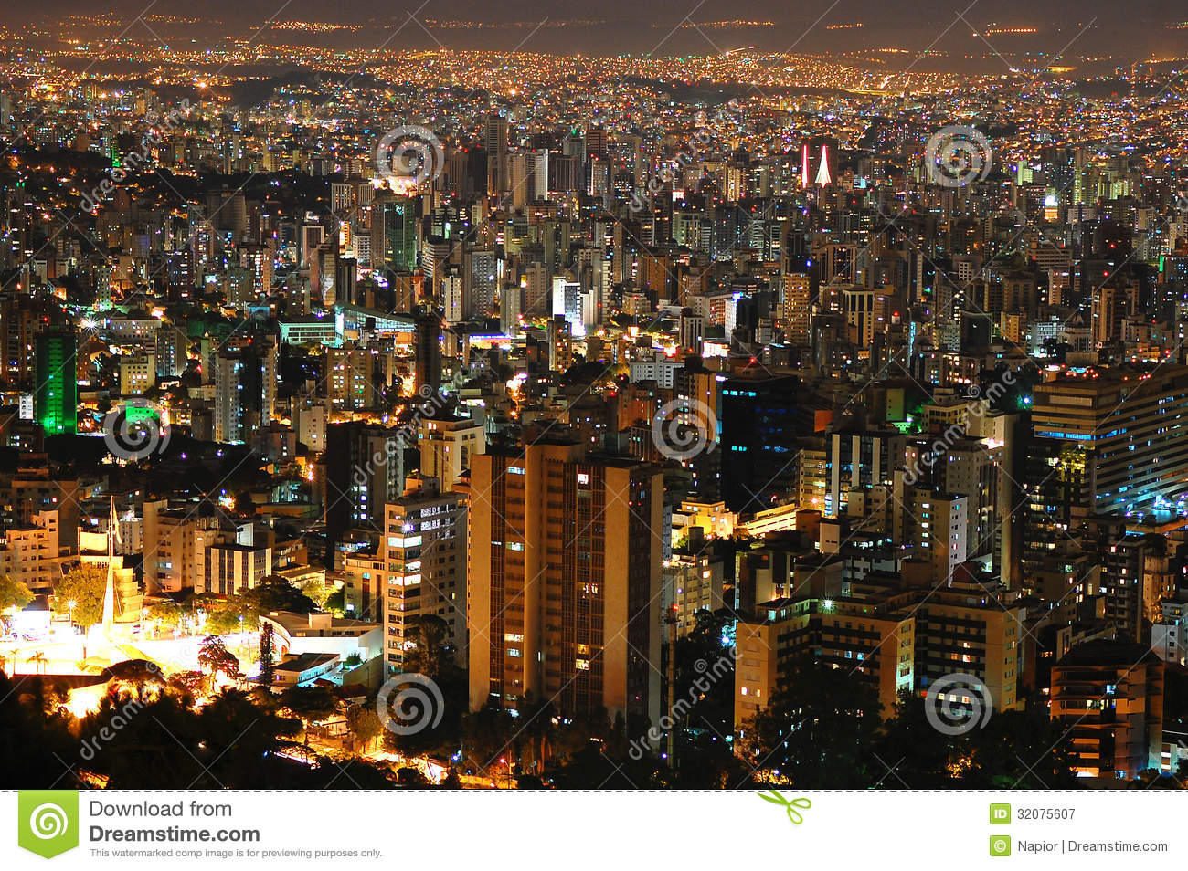 belo horizonte by night  royalty free stock photography
