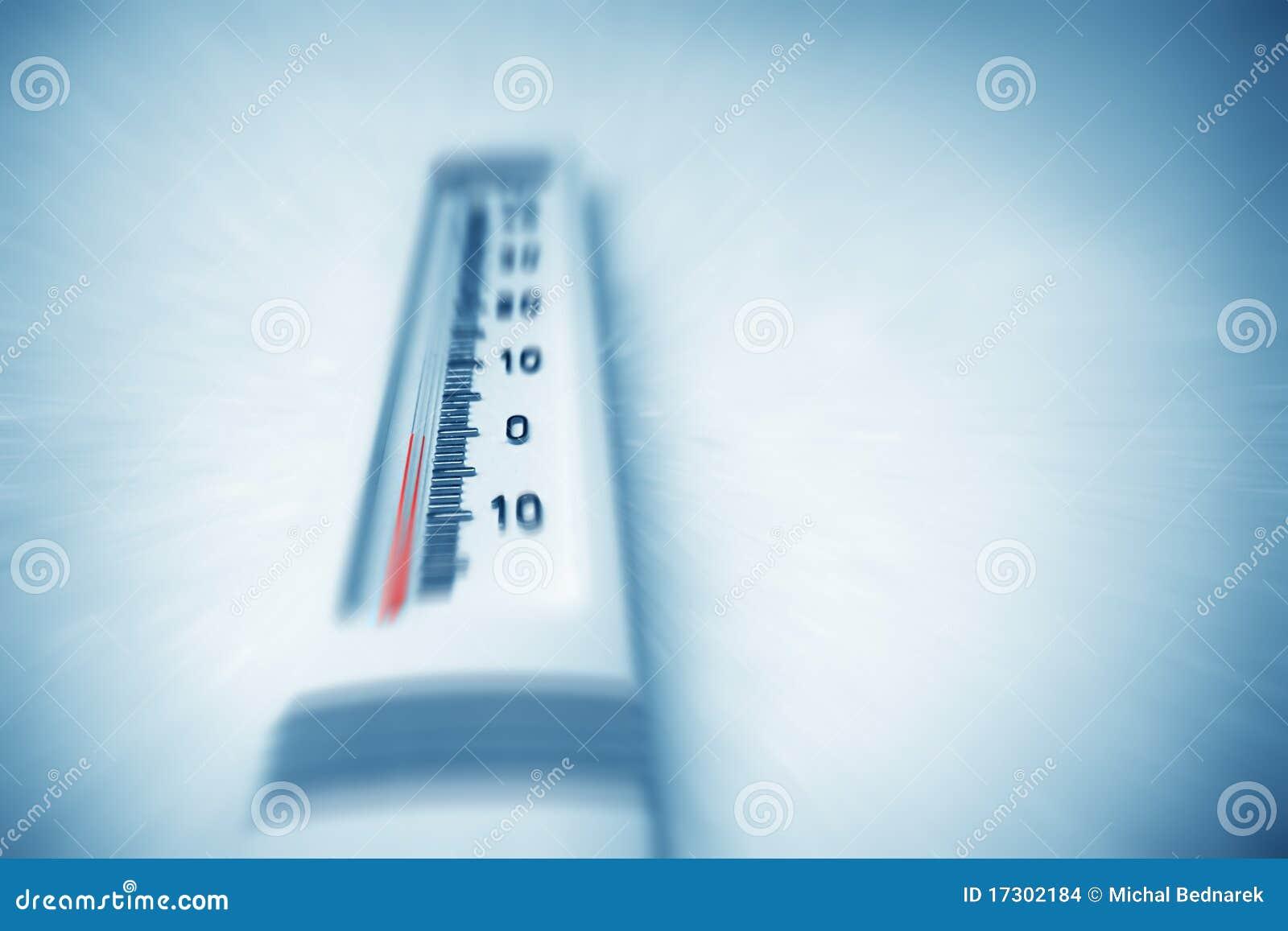 Below zero on thermometer.