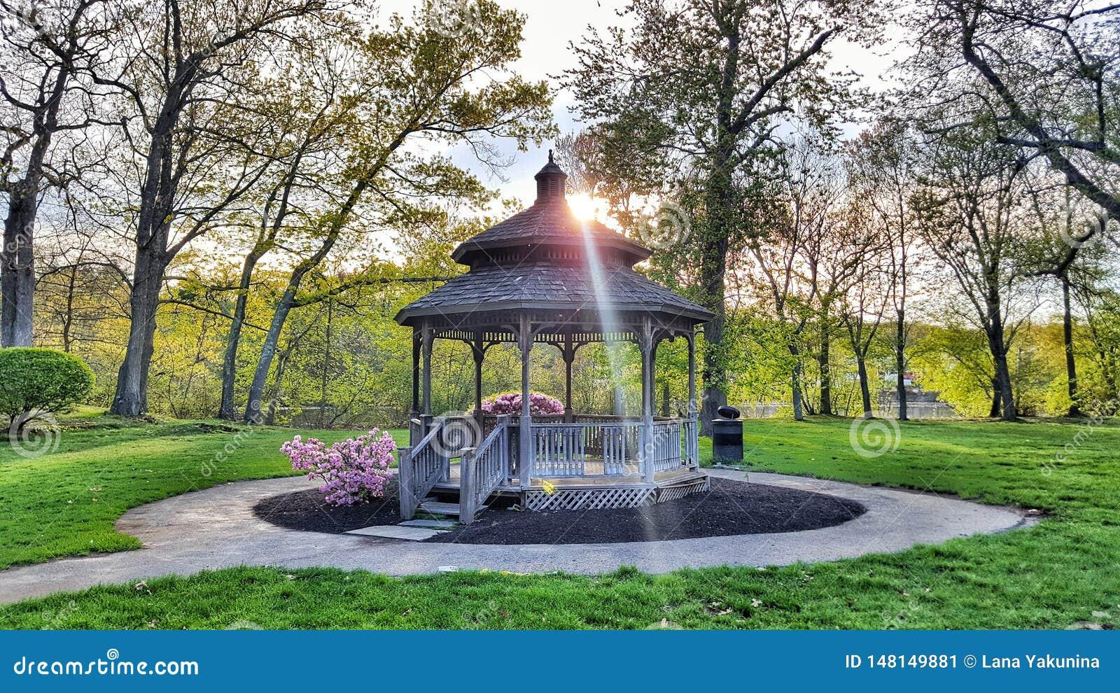 Belvédère en parc avec des arbres autour