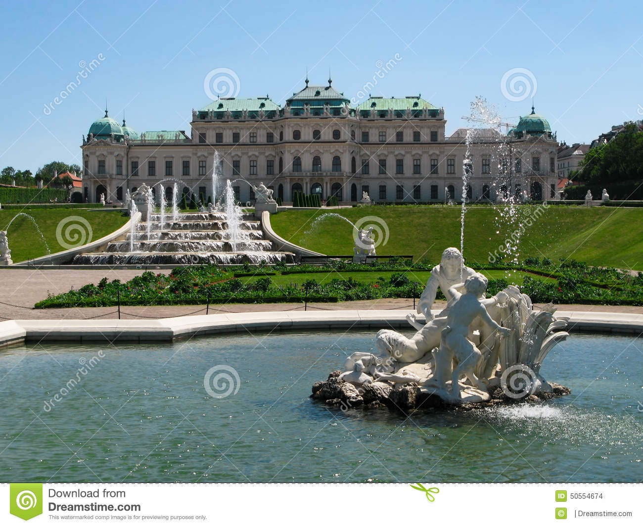 View of the gardens and Upper Belvedere Palace in Vienna, Austria.