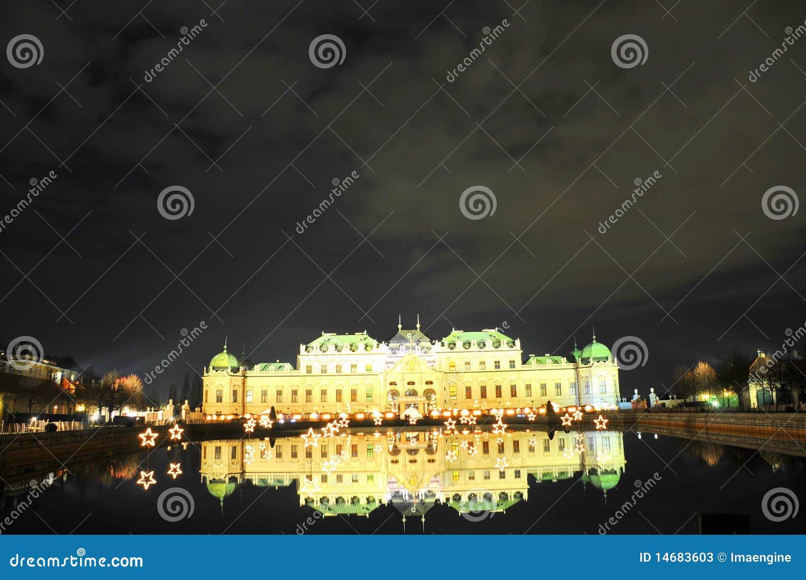Belvedere paleis -  s nachts Wenen