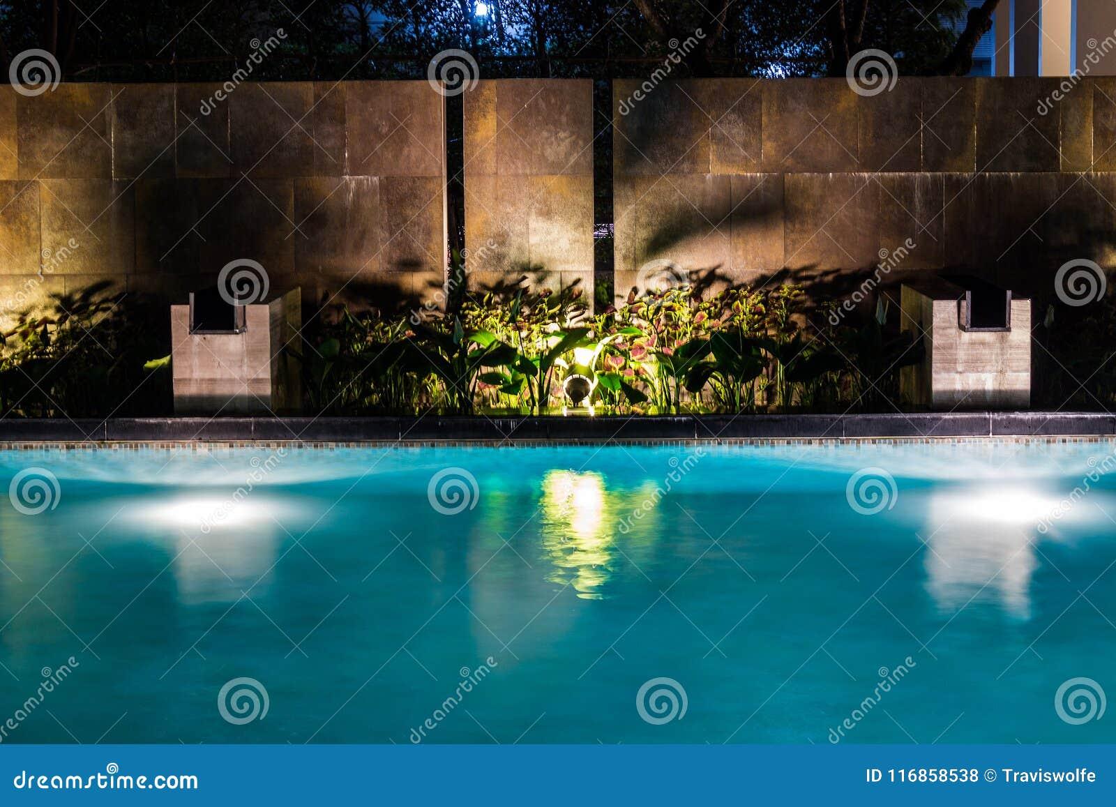 Belysningaffär för lyxig trädgårdsimbassäng Avkopplad livsstil med modern design av professionell
