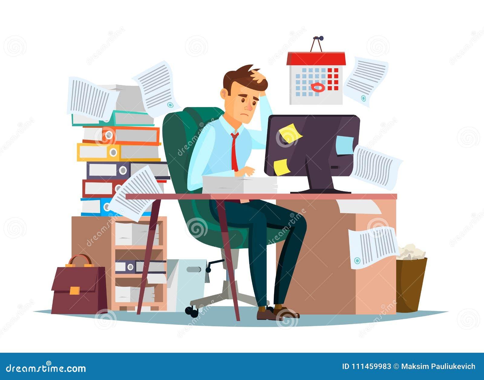 Bemannen Sie Überlastung in der Bürovektorillustration des Karikaturmanagers sitzend am Computertischarbeiten frustriert im Druck