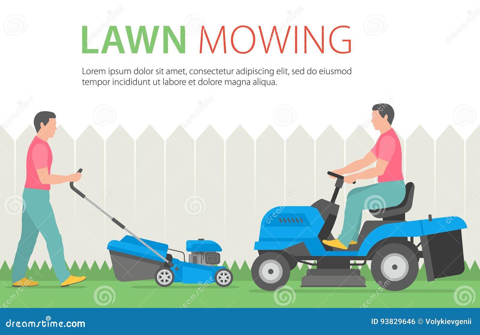 Bemannen Sie Das Mahen Des Rasens Mit Blauem Rasenmaher