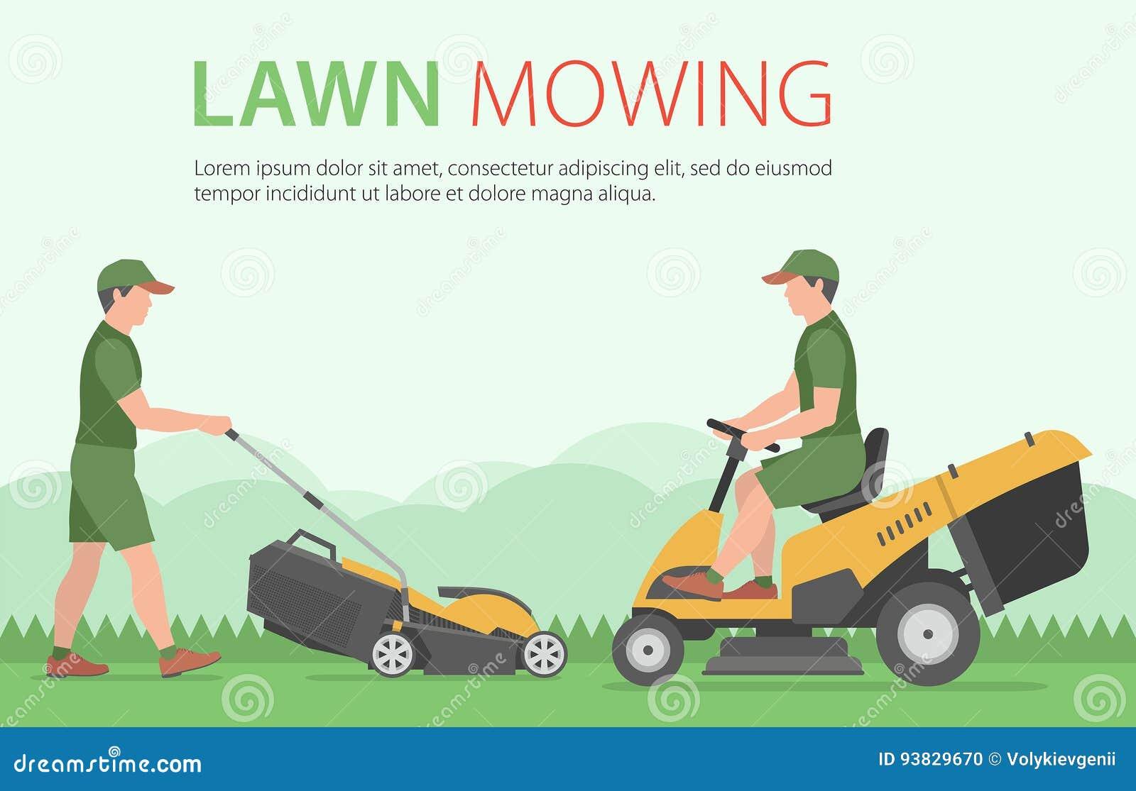 Bemannen Sie das Mähen des Rasens mit gelbem Rasenmäher