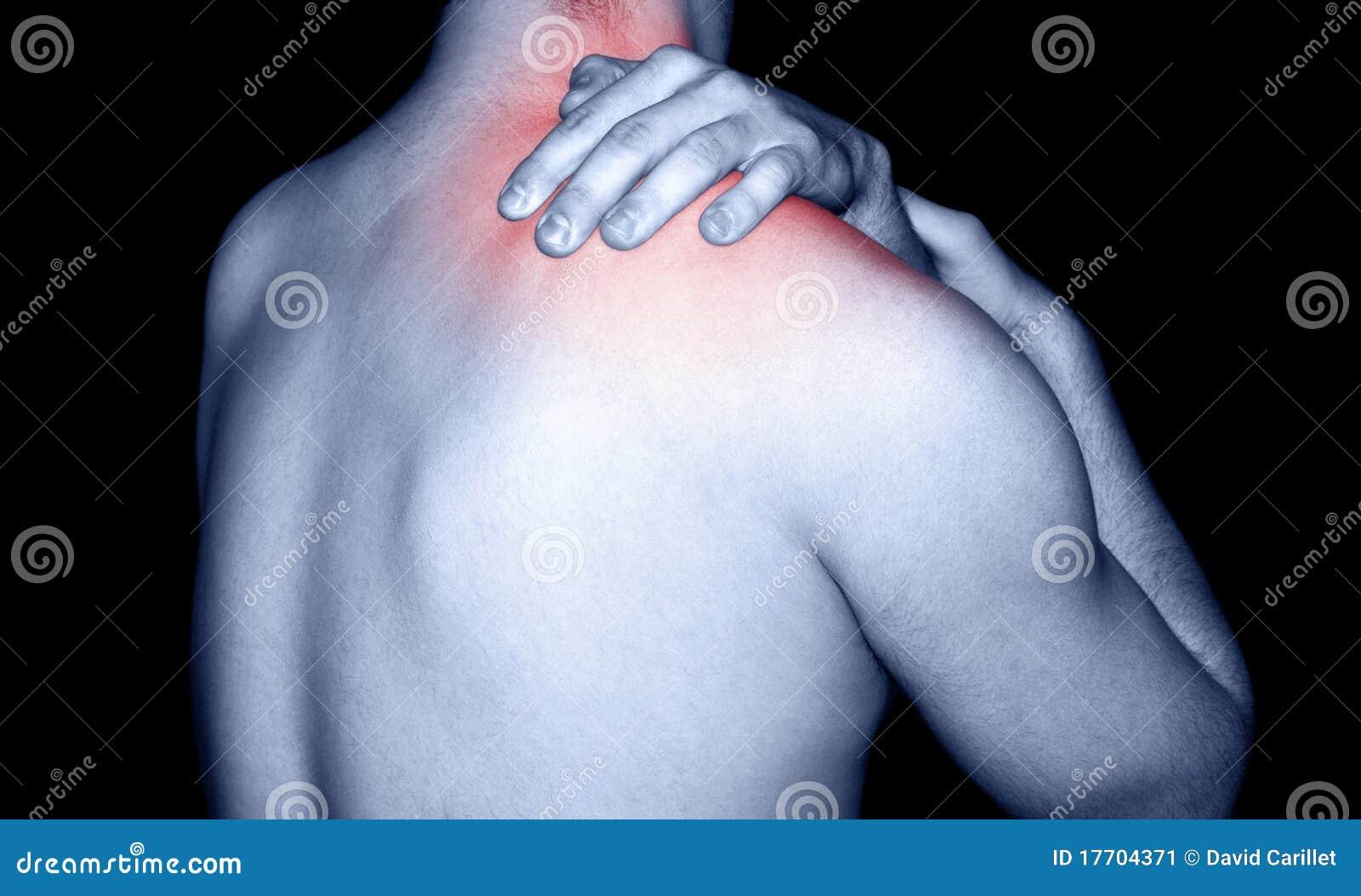 Bemannen Sie das Massieren von Schulterschmerz
