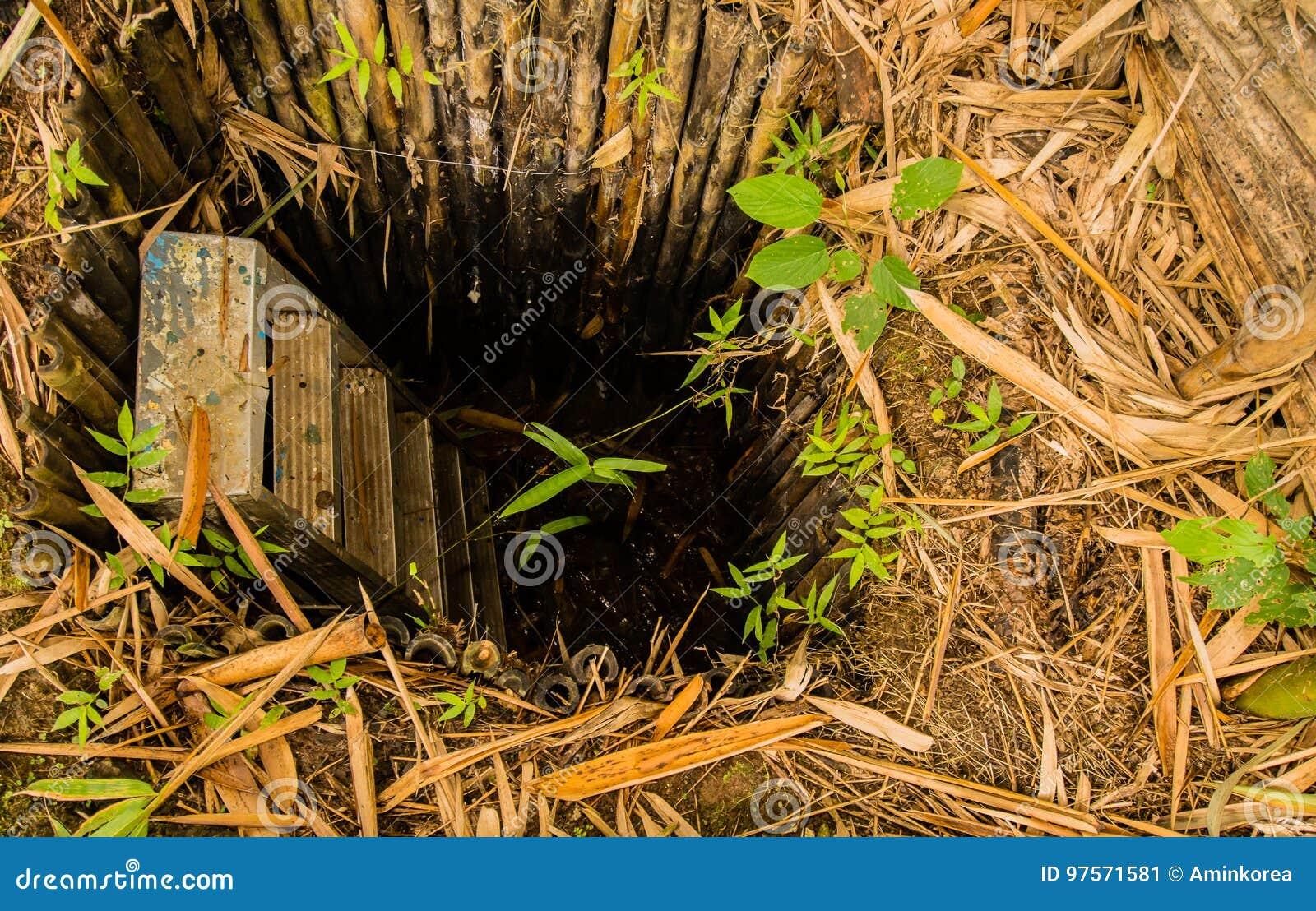 Bemannen Sie Gemachtes Loch Im Boden Der Mit Bambus Gezeichnet Wird