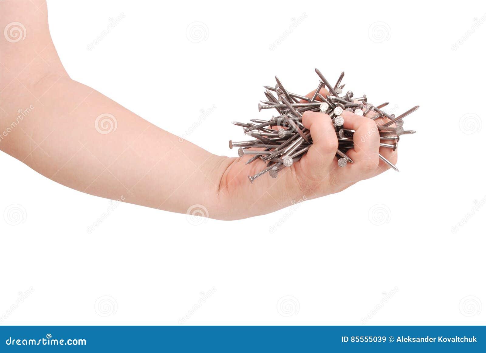 Bemannen Sie ` s Hand, die Metallnägel Beschneidungspfad hält