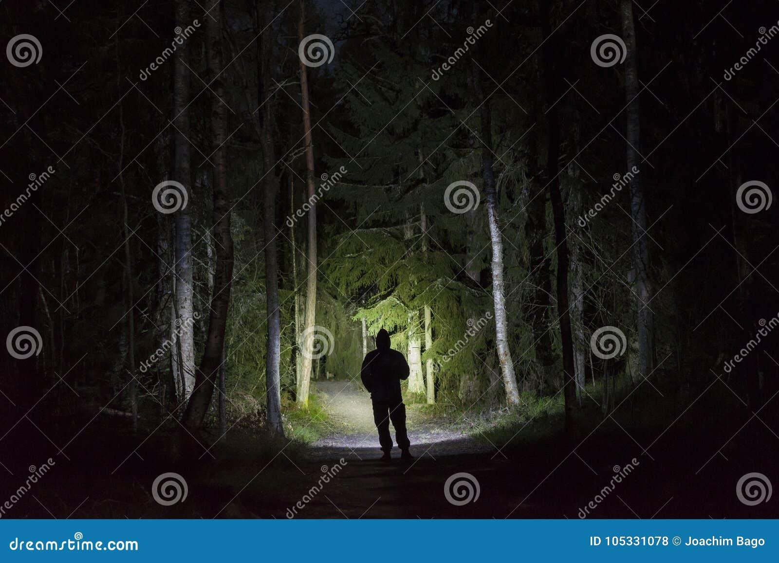 Bemannen Sie Stellung im dunklen Wald nachts mit Taschenlampe und Hoodie auf Kopf