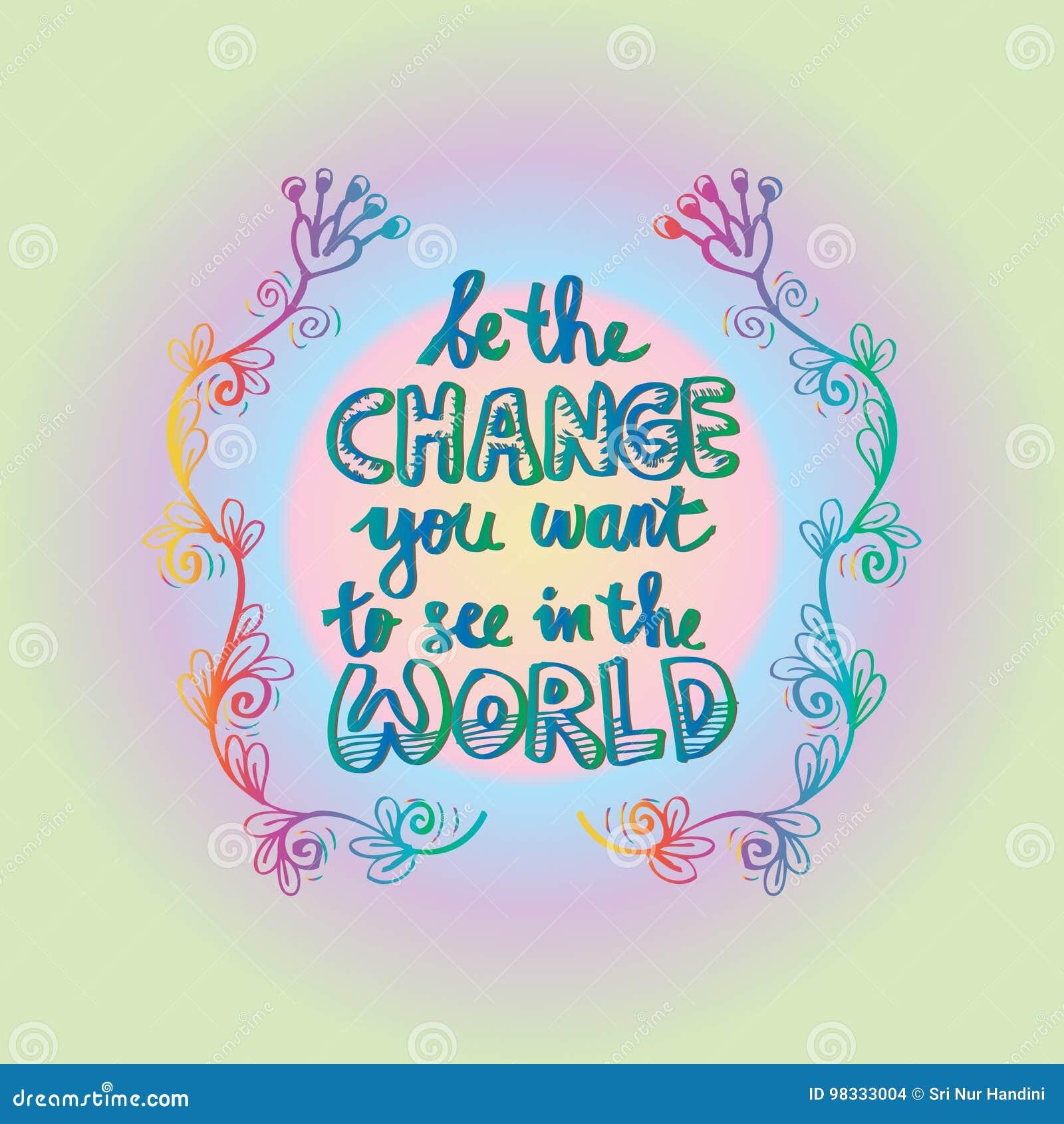 Change Or Die Quote: Ben De Verandering U In De Wereld Wilt Zien Stock