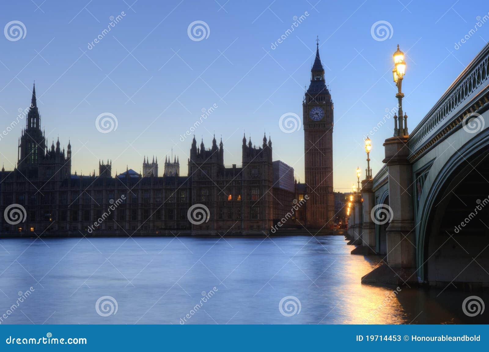 Ben duży London noc parlamentu linia horyzontu