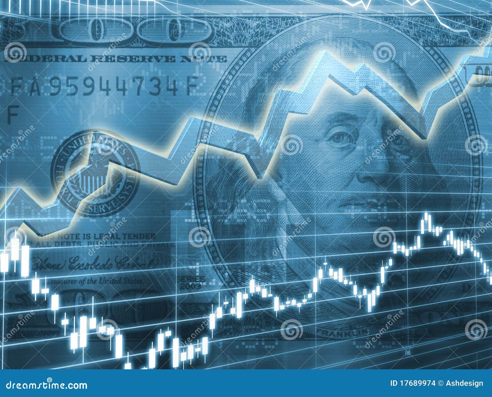 Ben Franklin con el gráfico de la bolsa