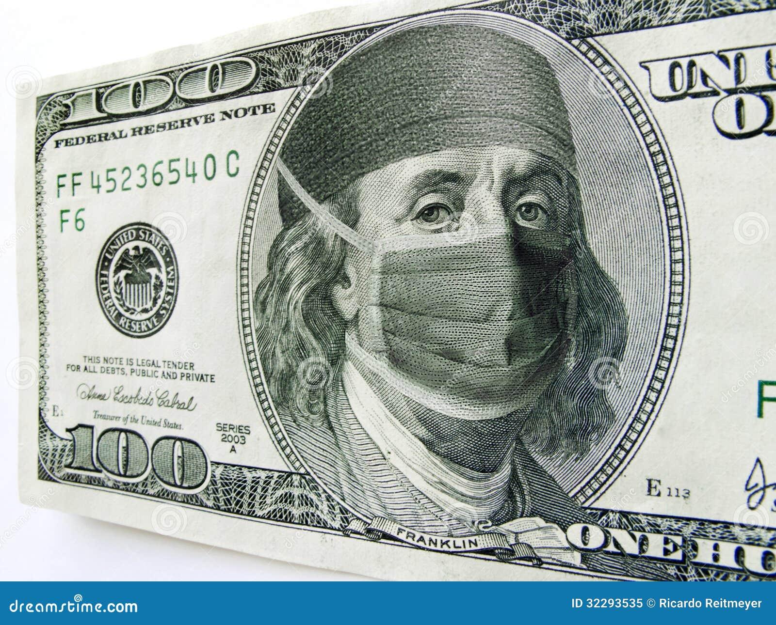 Ben Franklin Wearing Healthcare Mask on One Hundre