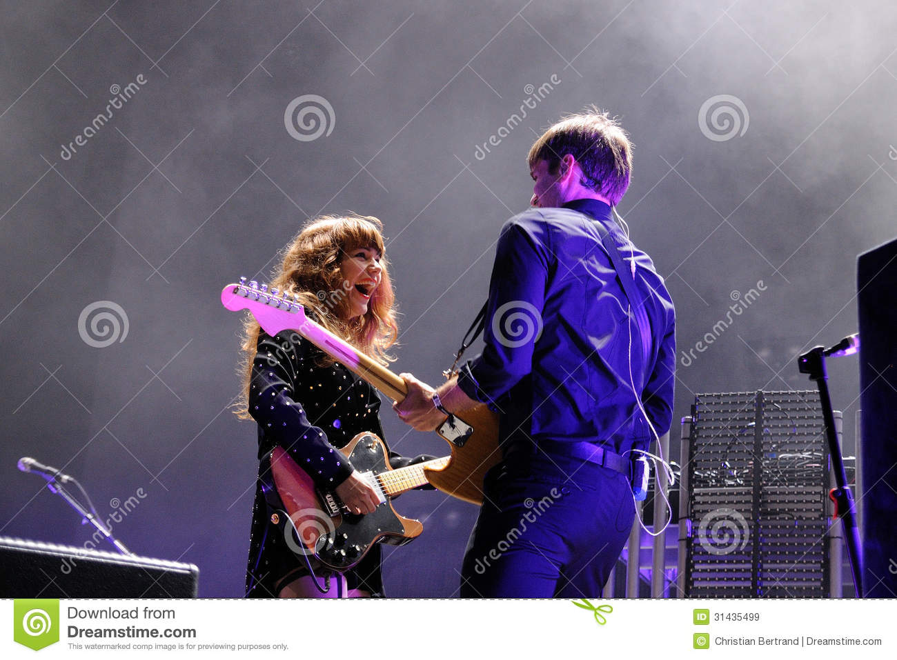 Ben Gibbard And Jenny Lewis Of The Postal Service Band Performs