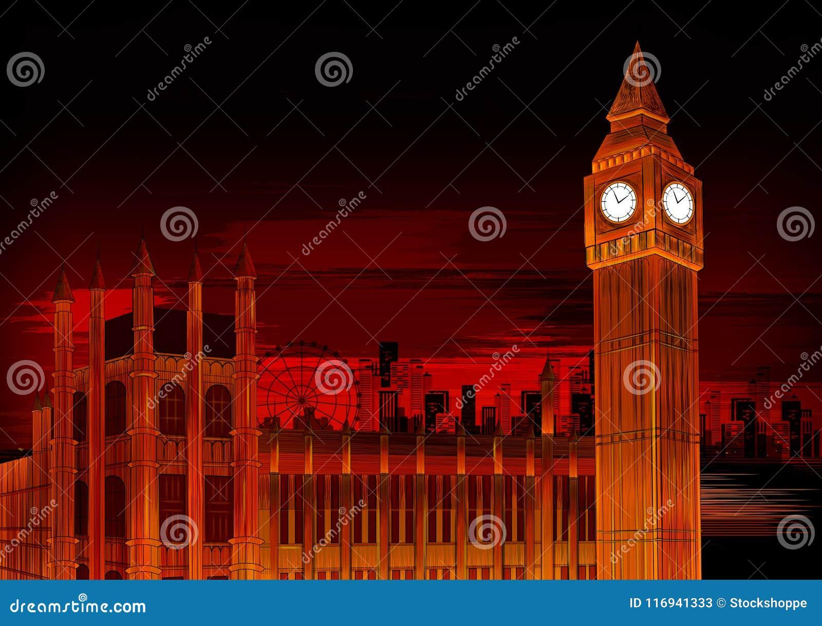 Ben The Great Bell grande do monumento histórico mundialmente famoso do pulso de disparo de Westminster em Londres