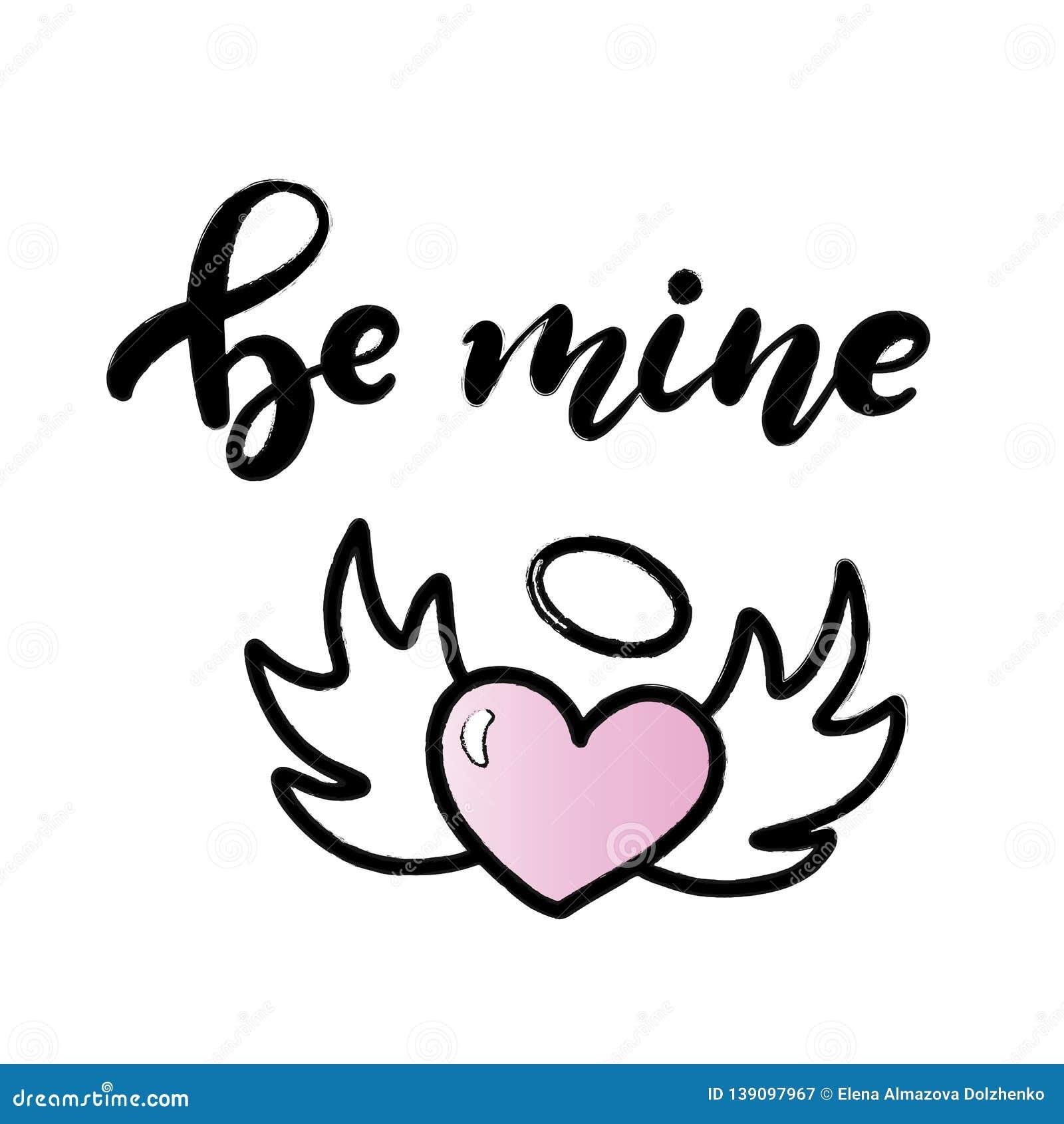 Ben mijn van letters voorzien tekst van Valentine hand