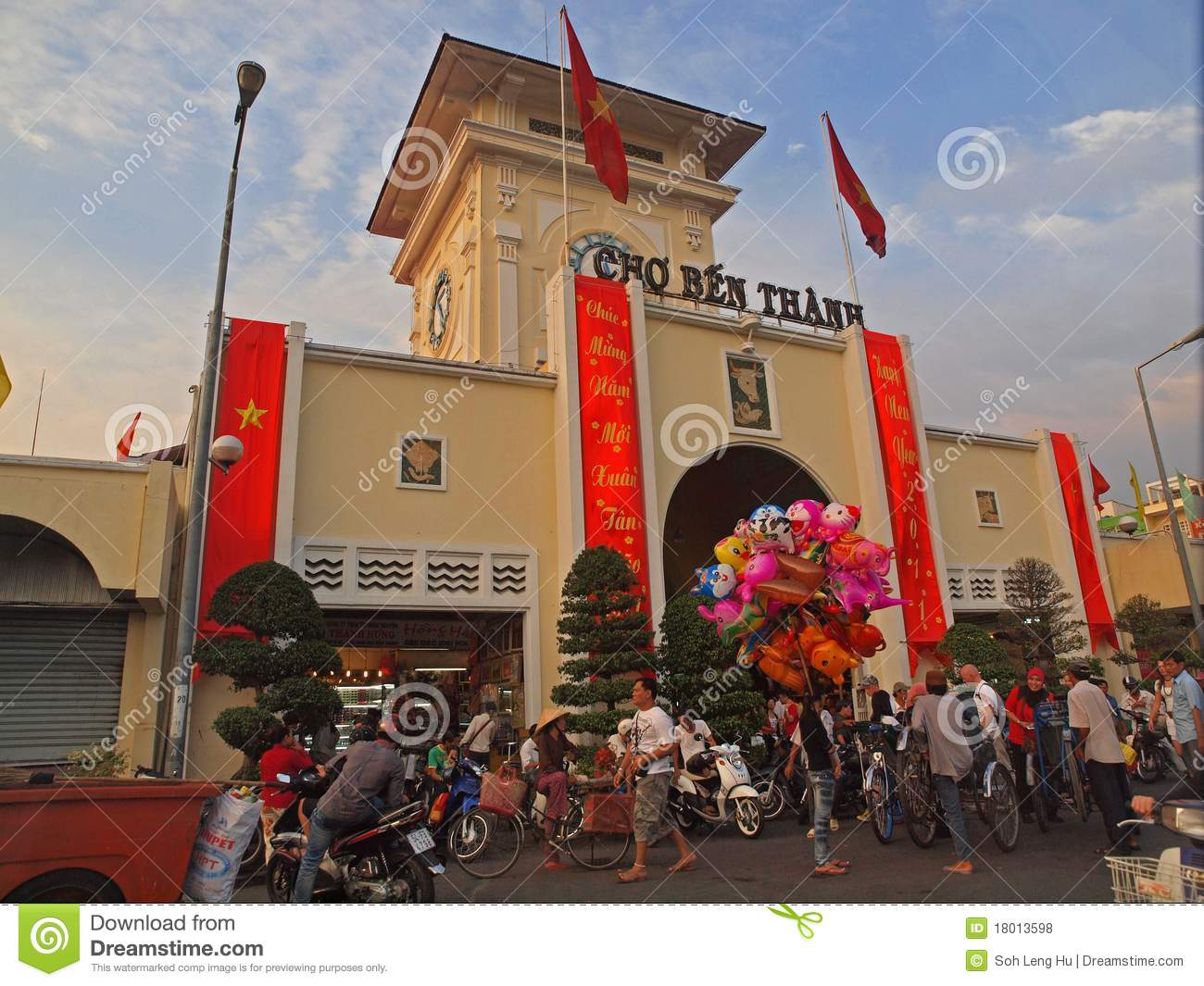 Download Ben Thanh Market, Ho Chi Minh City Editorial Stock Photo - Image of vietnamese, motorcycles: 18013598