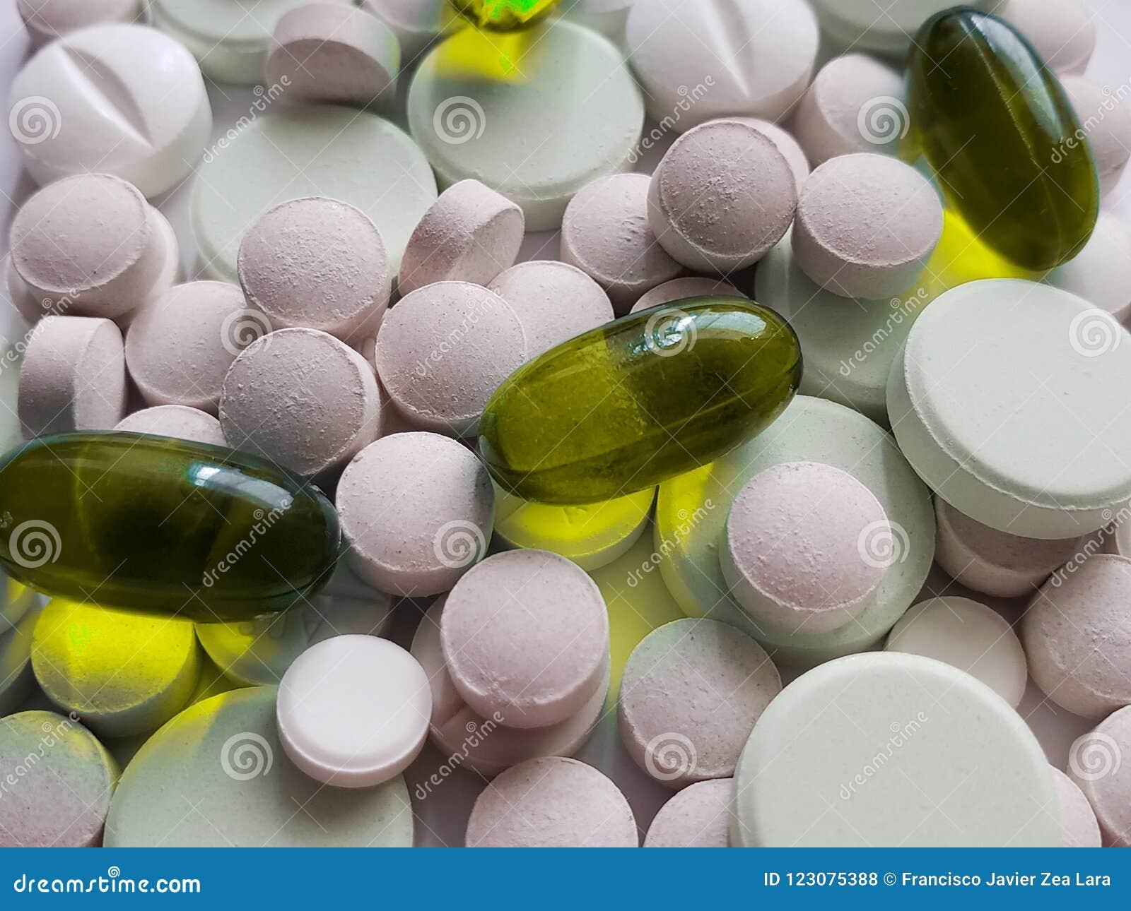 Benadering van verscheidenheid van geneesmiddelen in capsules en tabletten, achtergrond en textuur