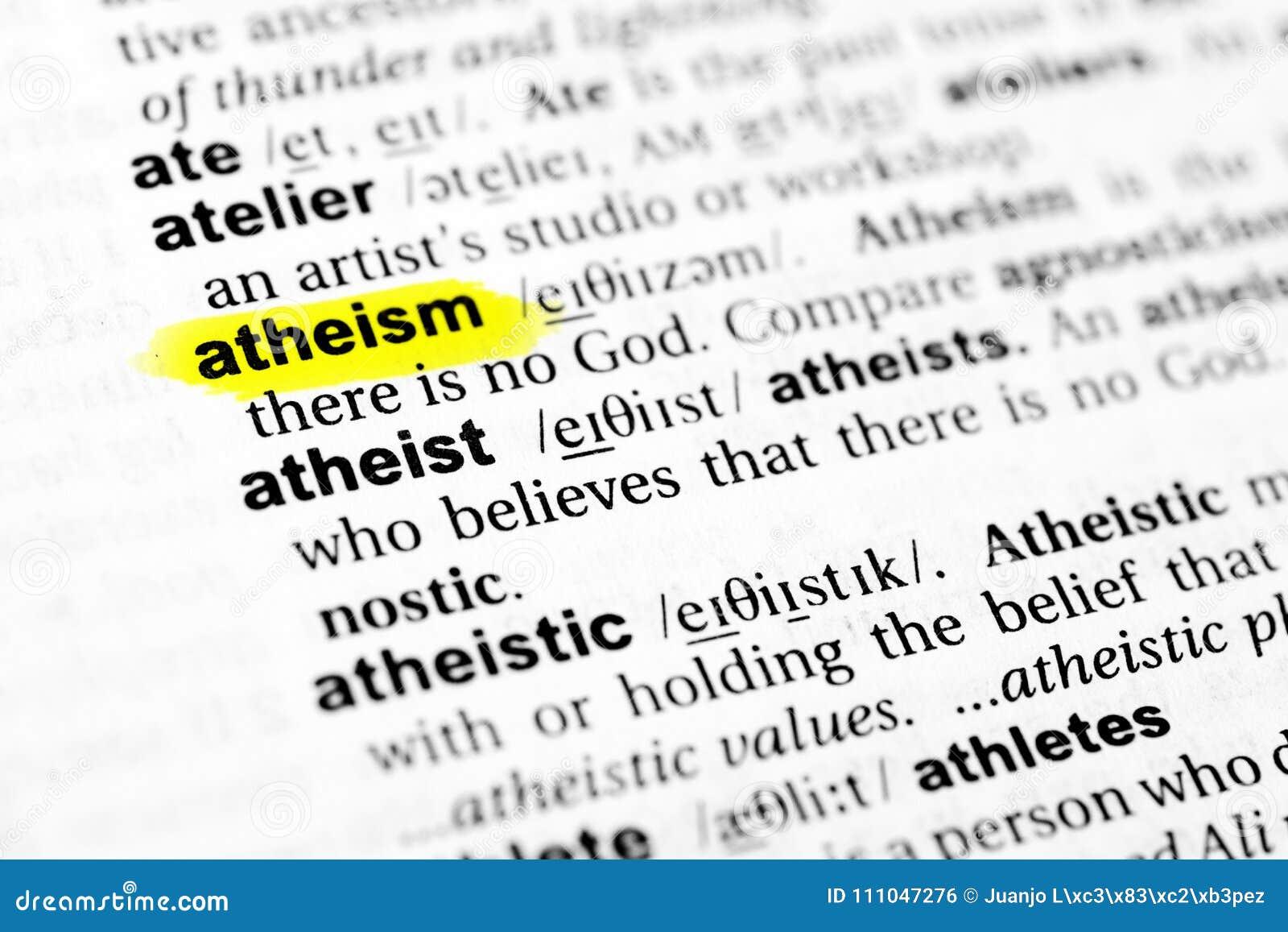 Benadrukt Engels woord` atheïsme ` en zijn definitie in het woordenboek