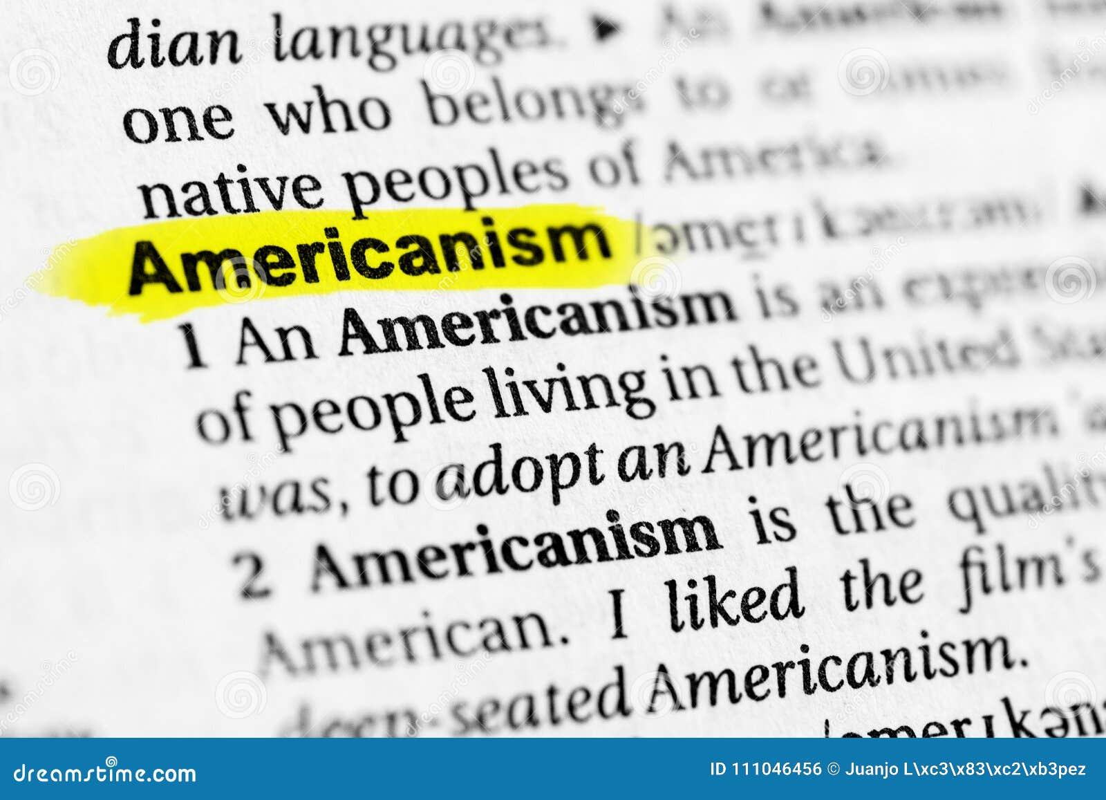 Benadrukte Engelse woord` americanism ` en zijn definitie in het woordenboek