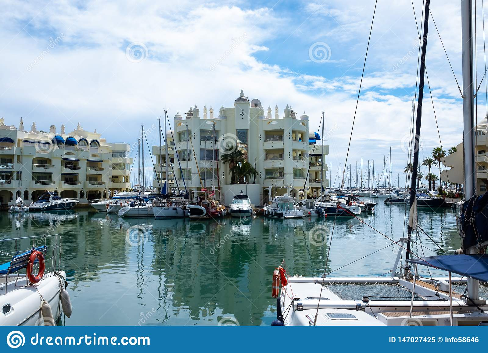 BENALMADENA, MALAGA, SPAIN. May 8, 2019. Port Marina with boats docked