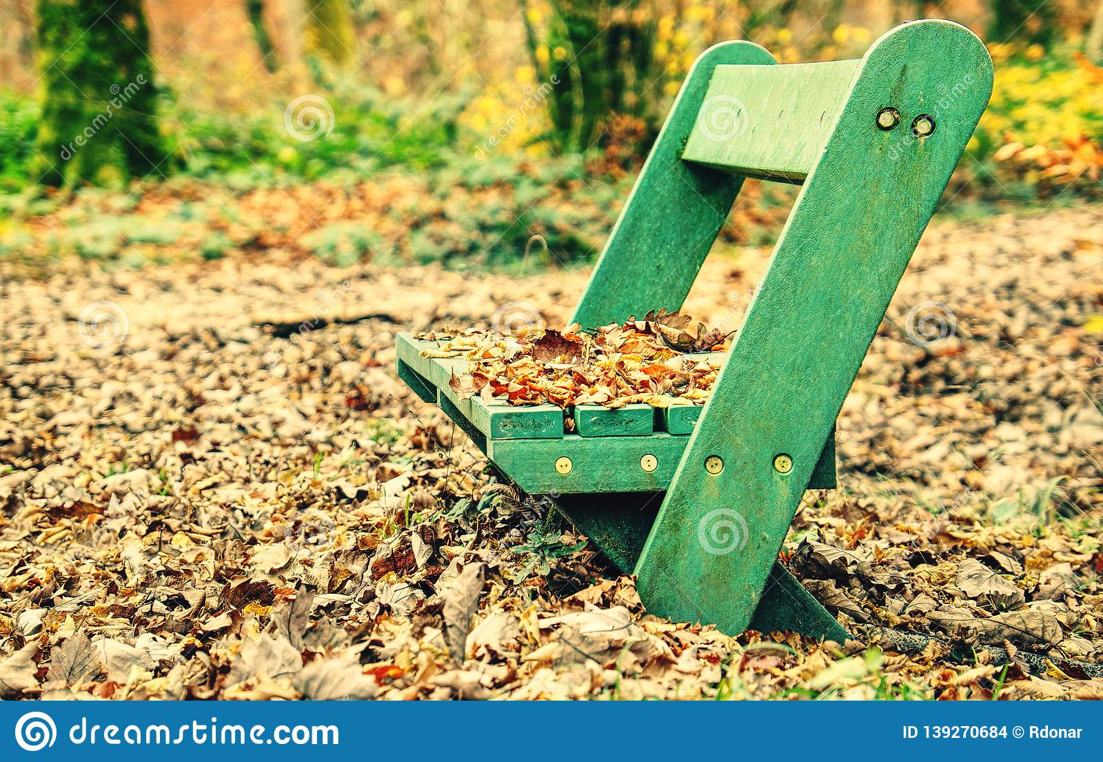 Bench In Autumn Park Wooden Bench In City Park Stock Photo