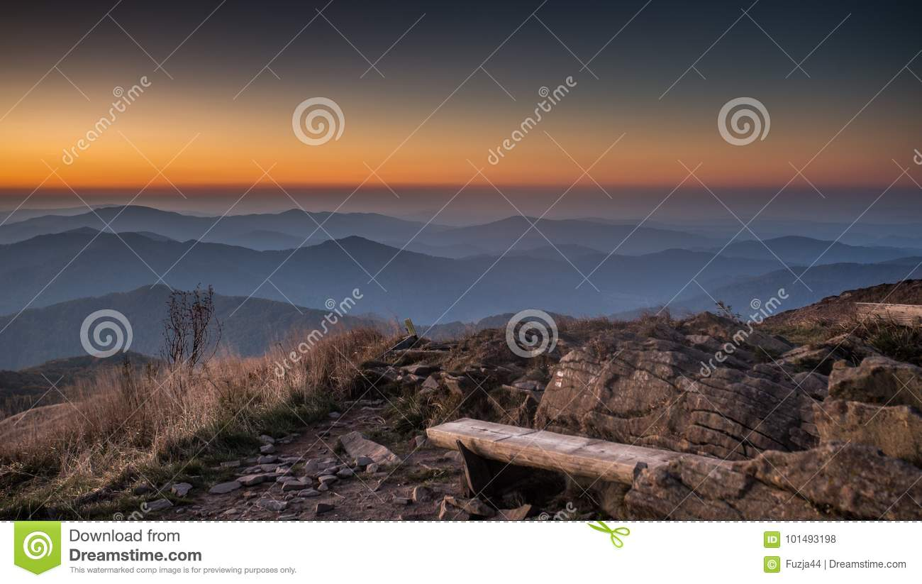 Bench in the Bieszczady Mountains in Poland.