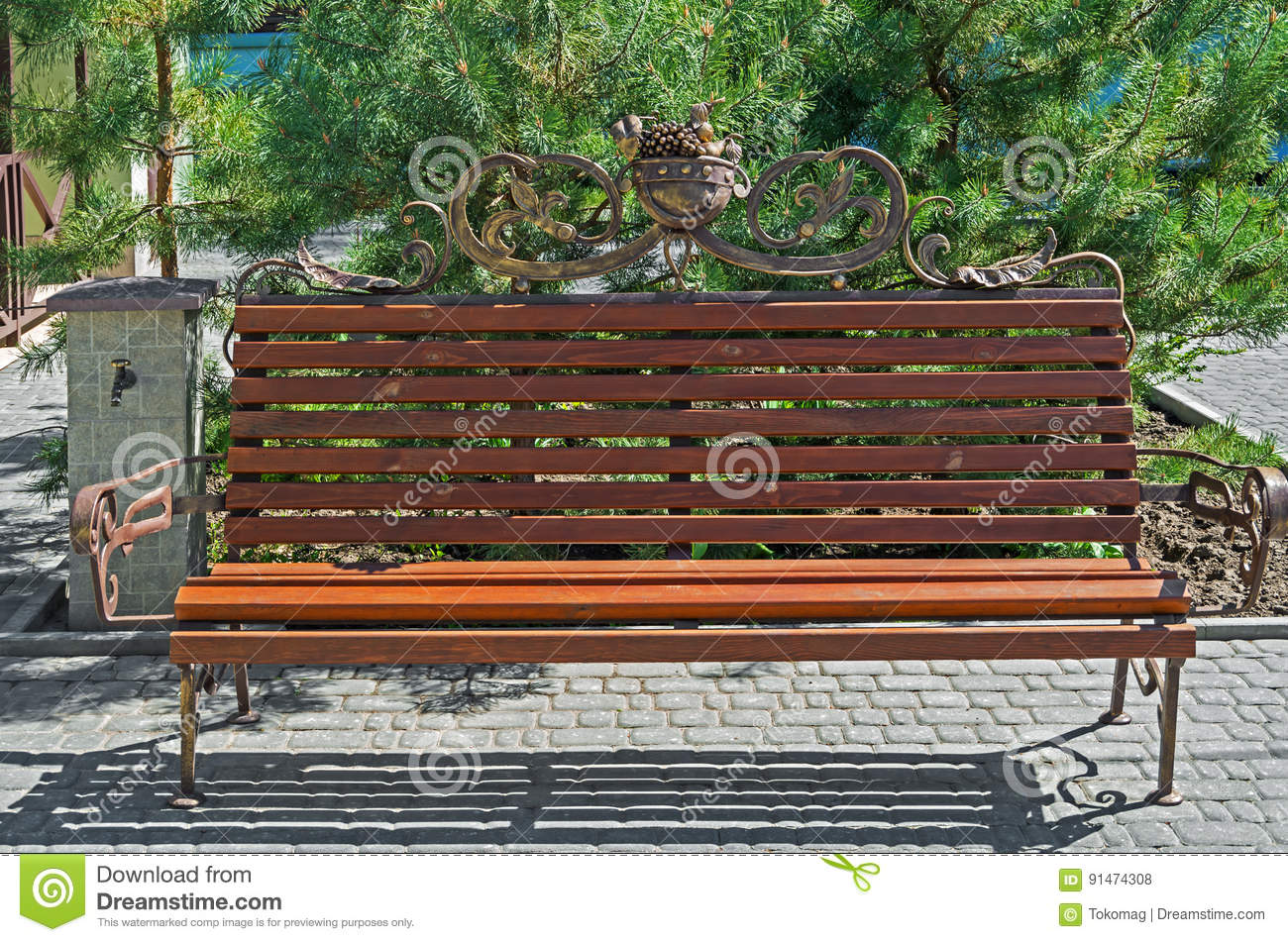 Phenomenal Bench In Garden Stock Photo Image Of Outdoors Empty 91474308 Caraccident5 Cool Chair Designs And Ideas Caraccident5Info