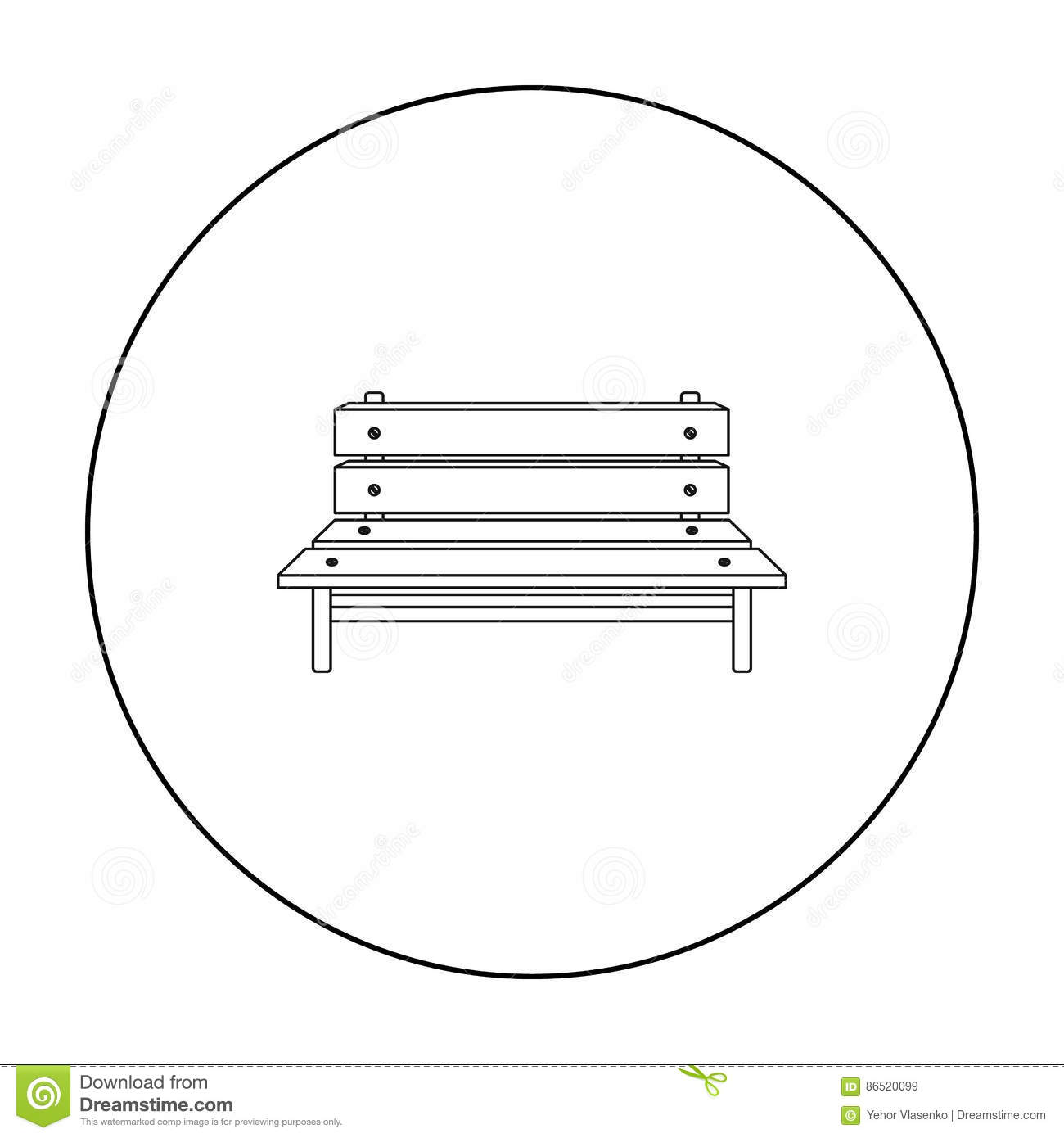 Pleasing Bench Icon In Outline Style Isolated On White Background Squirreltailoven Fun Painted Chair Ideas Images Squirreltailovenorg