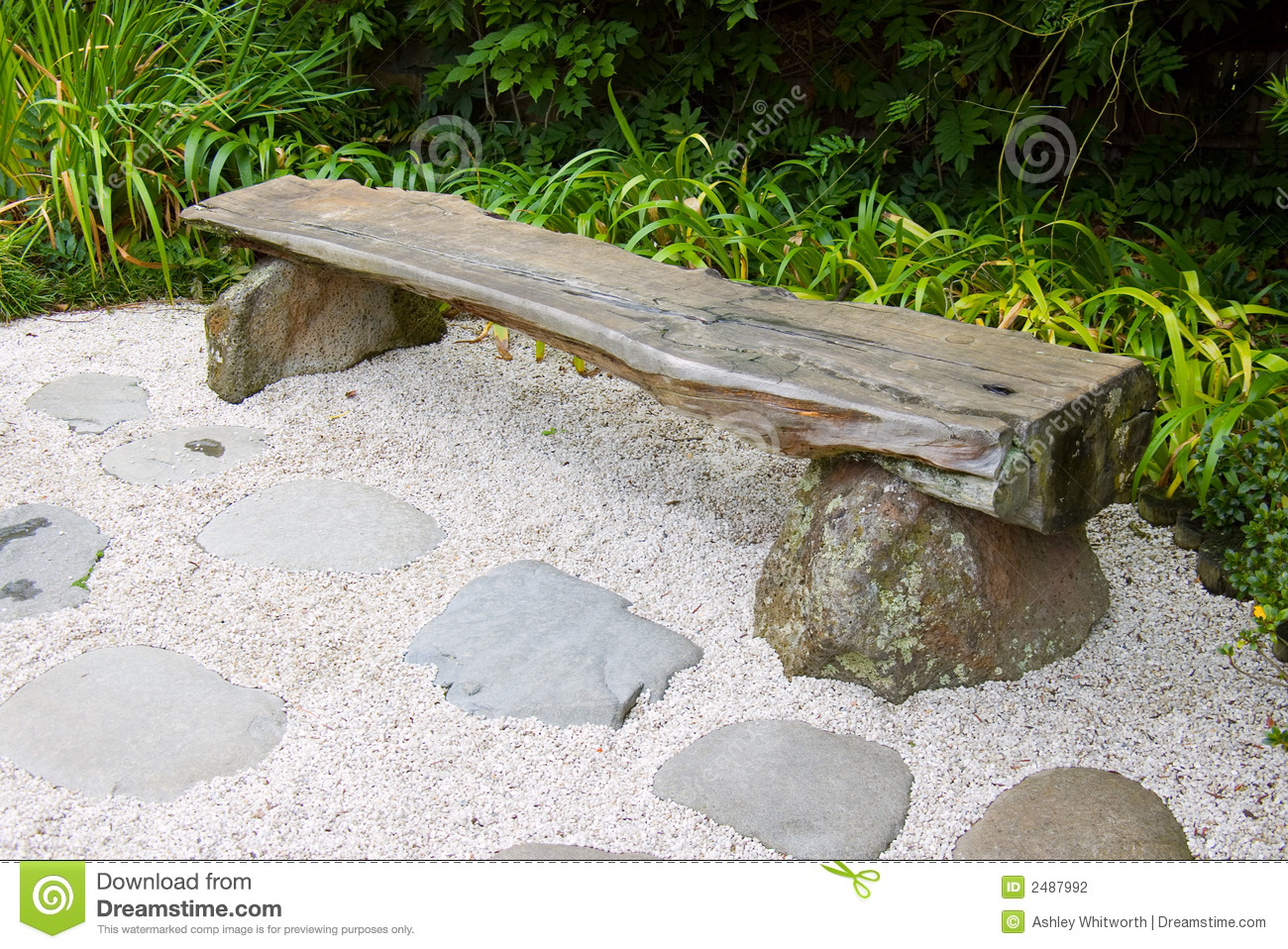Bench In Japanese Garden Stock Photography - Image: 2487992