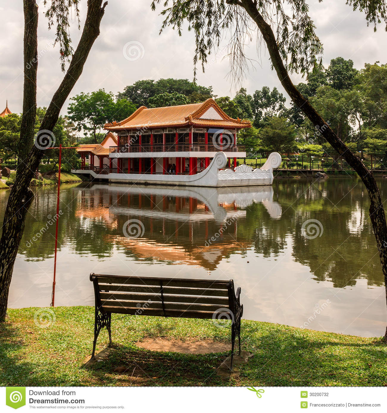 bench in a chinese garden. singapore stock photo - image: 30200732