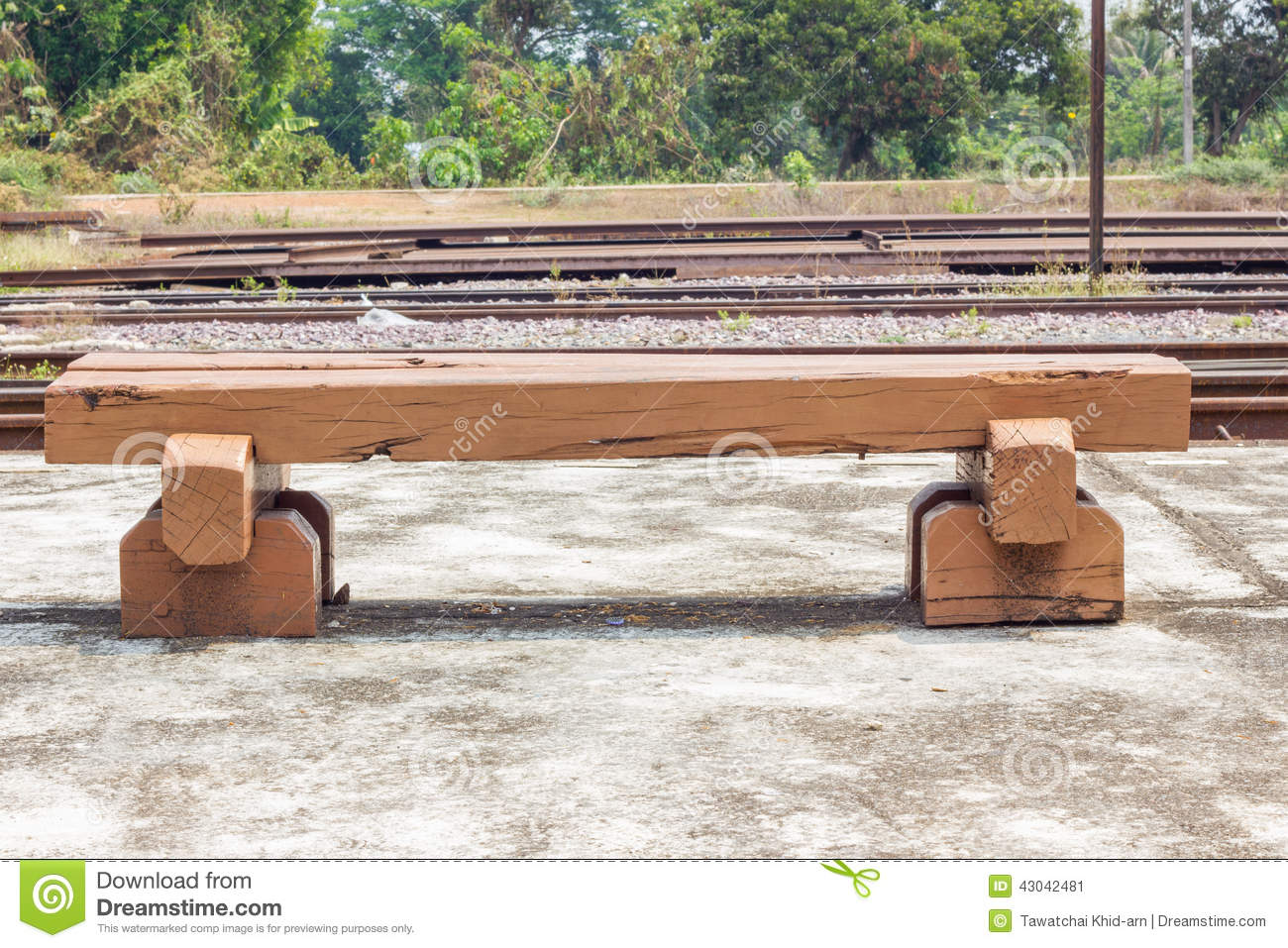 Bench Made Of Old Railroad Ties Stock Photo Image 43042481