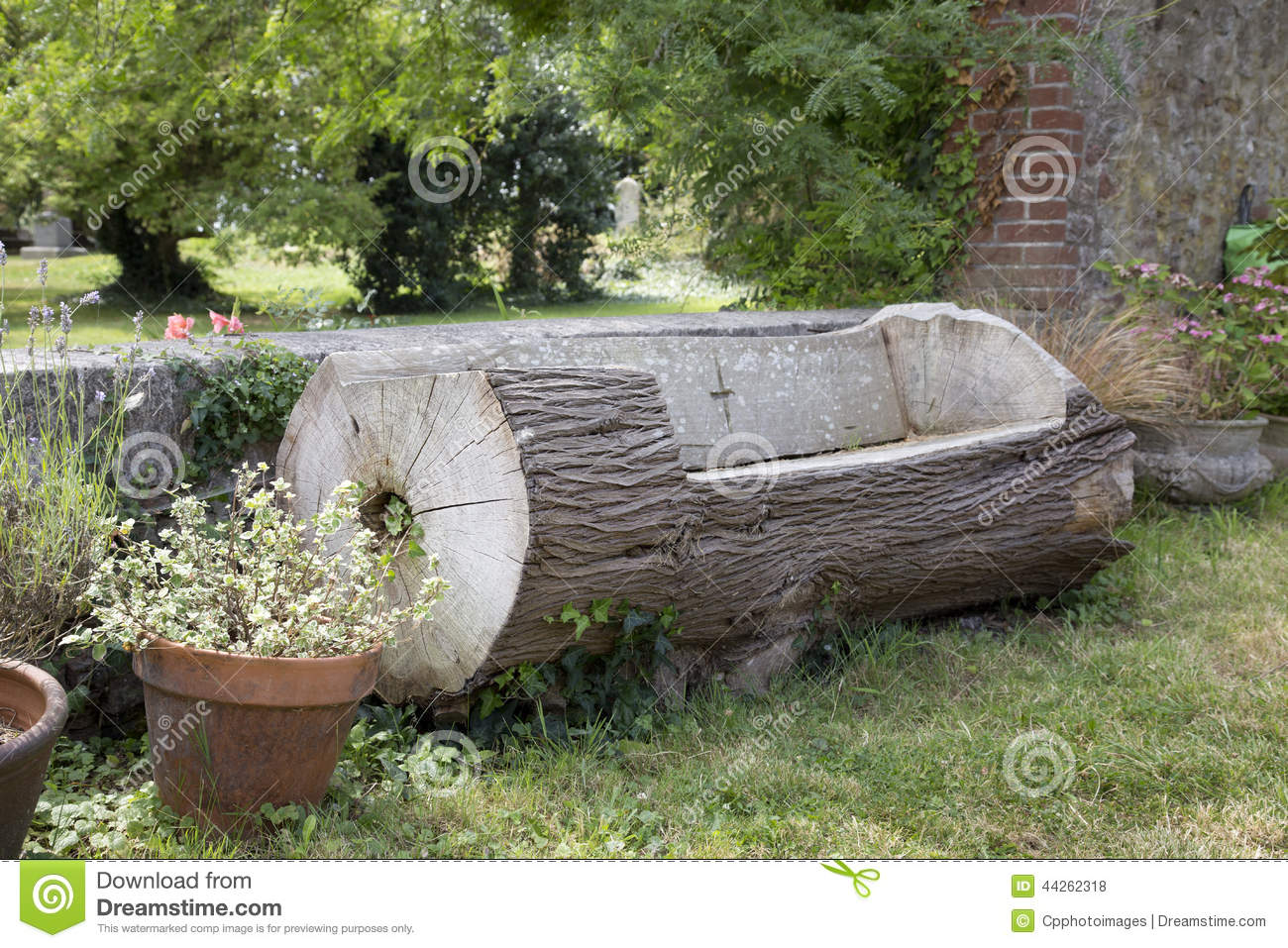 Bench Made Out Of A Tree Trunk Stock Photo Image Of