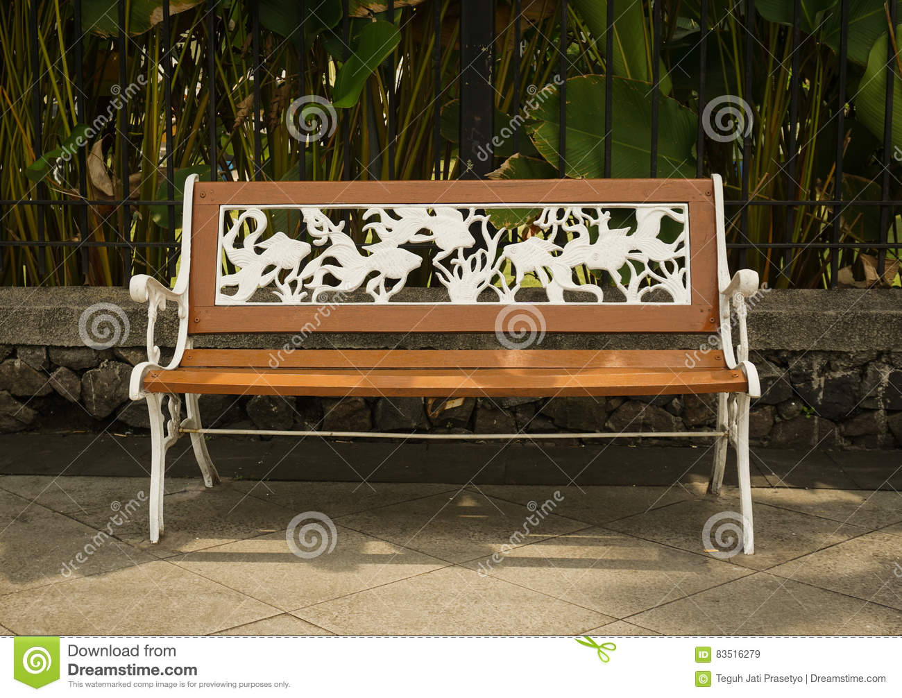 Strange A Bench Made From Wood And Metal Engraving White Coloured Lamtechconsult Wood Chair Design Ideas Lamtechconsultcom