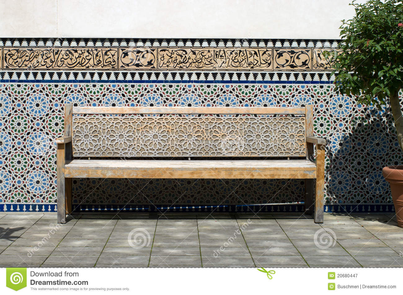Bench in the moroccan courtyard royalty free stock photography image 20680447 Moroccan bench