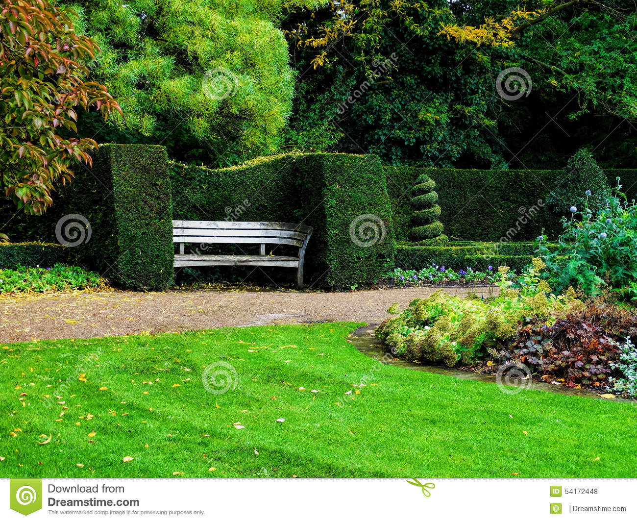 Bench in nicely trimmed bushes in regent 39 s park london for Garden trees london