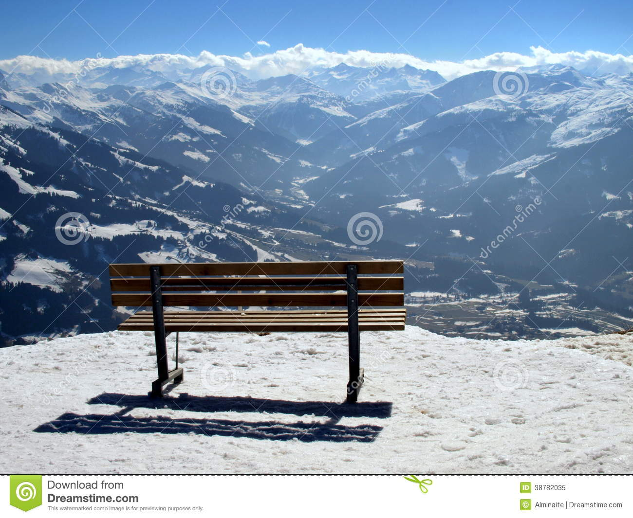 Bench Overlooking Mountain Valley Stock Image Image Of