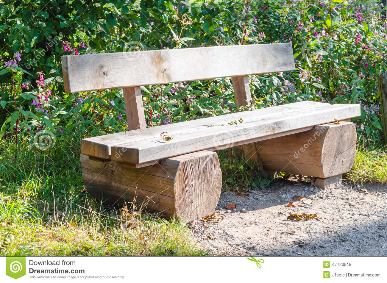 bench park bench made of tree trunk stock photo image