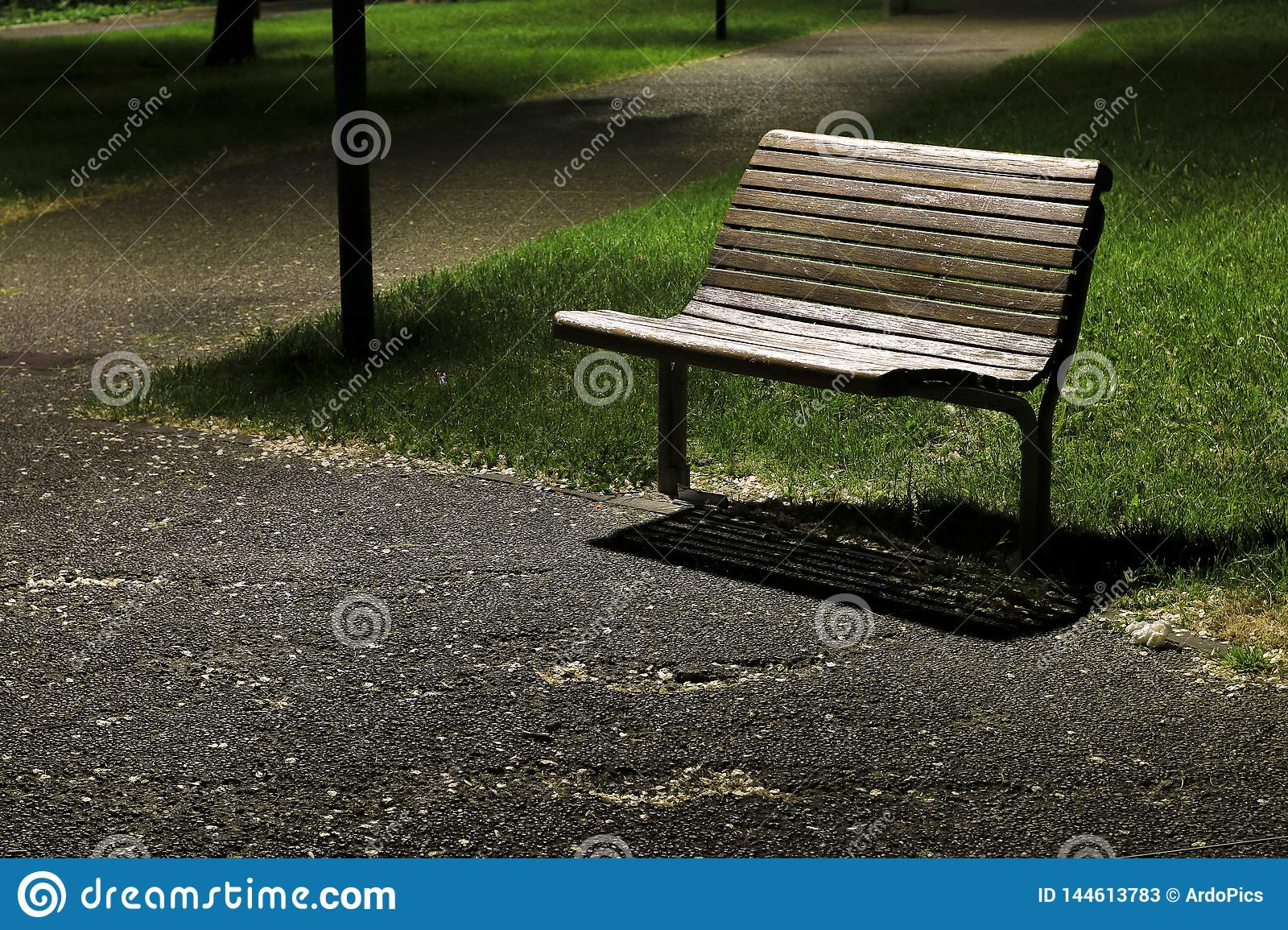 Bench in the park at night