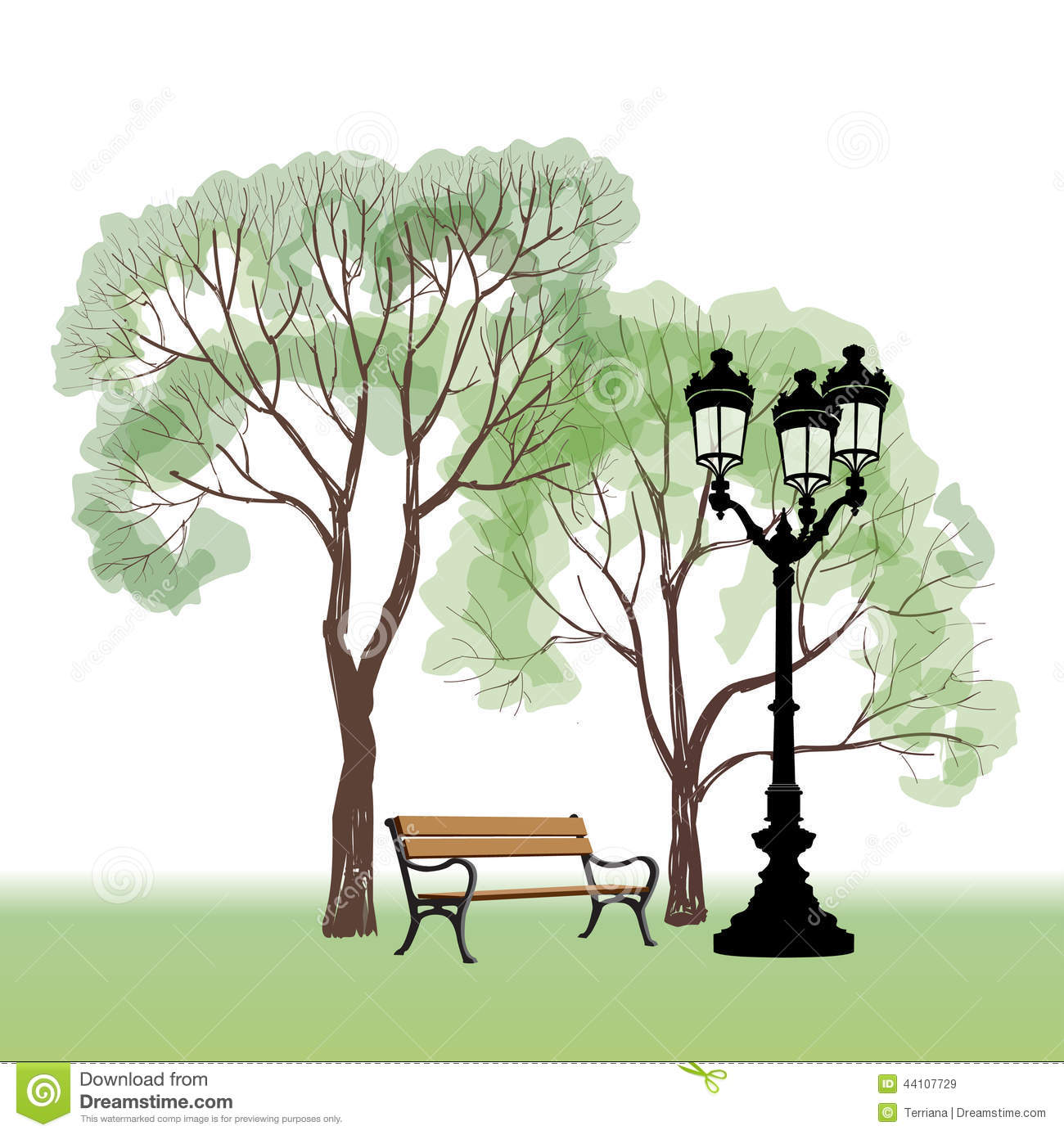 Bench In Park With Tree And Streetlamp City Park