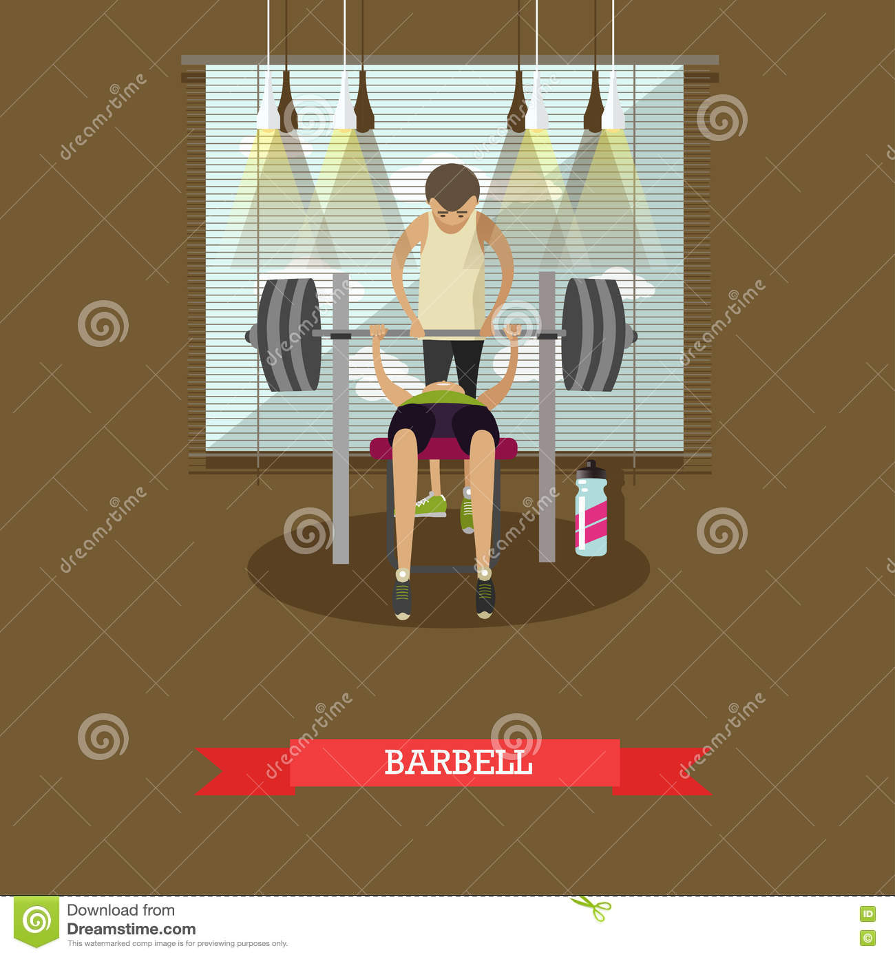 Marvelous Bench Press Using A Barbell Man Working Out In Gym Healthy Ibusinesslaw Wood Chair Design Ideas Ibusinesslaworg