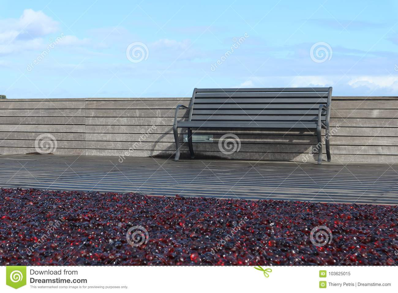 Bench At The Red Terrasse Stock Image Image Of Arhitect