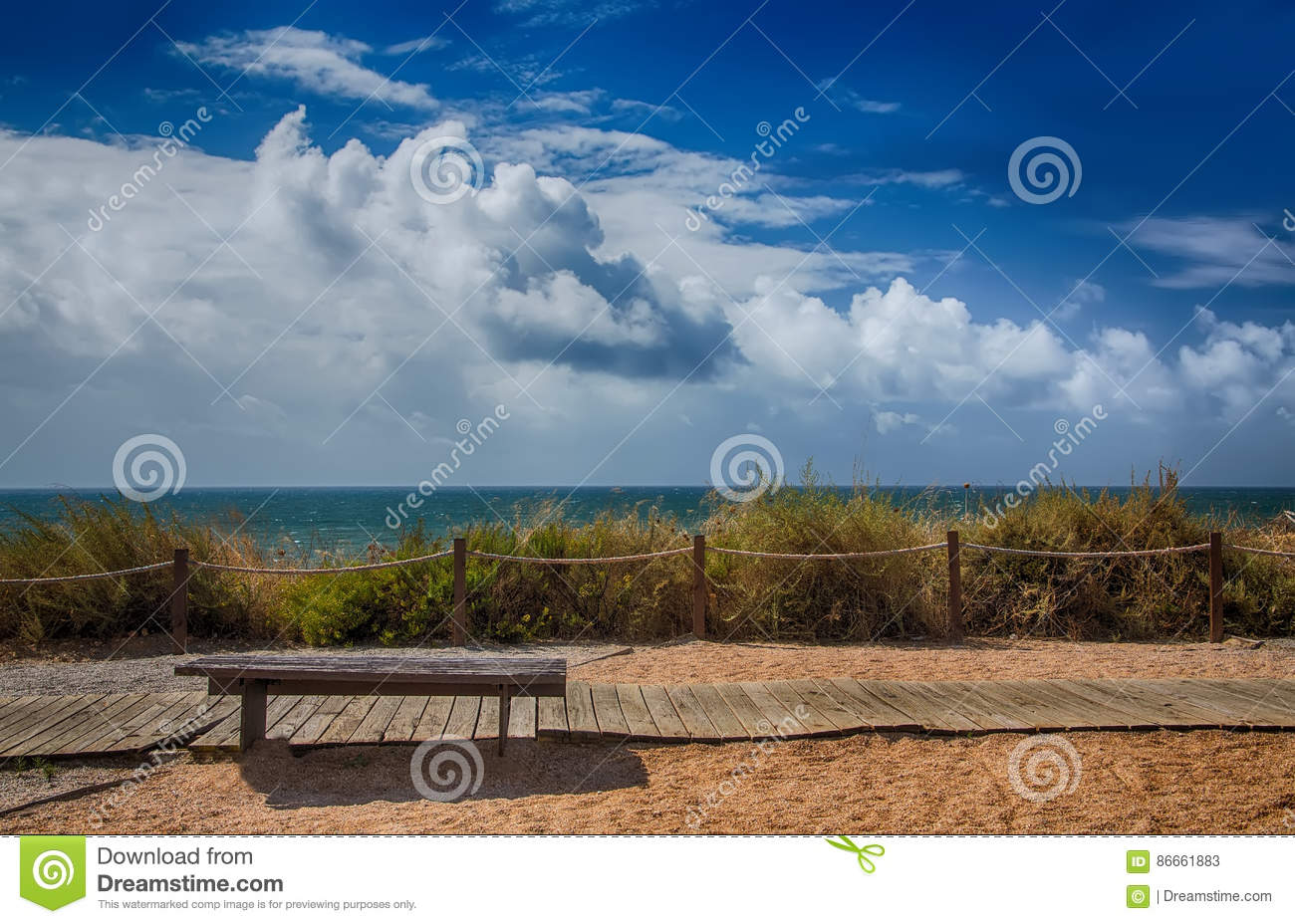 Bench for relaxation by the ocean