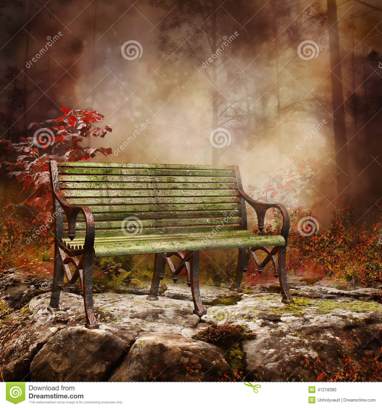 Bench on a rock