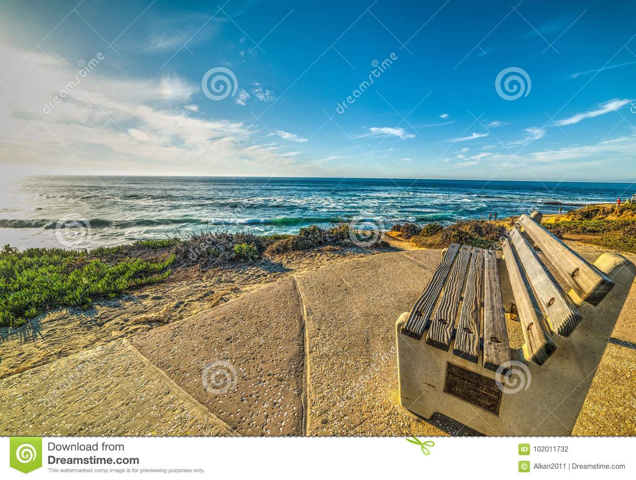 Bench By The Sea In La Jolla Beach Stock Photo Image Of