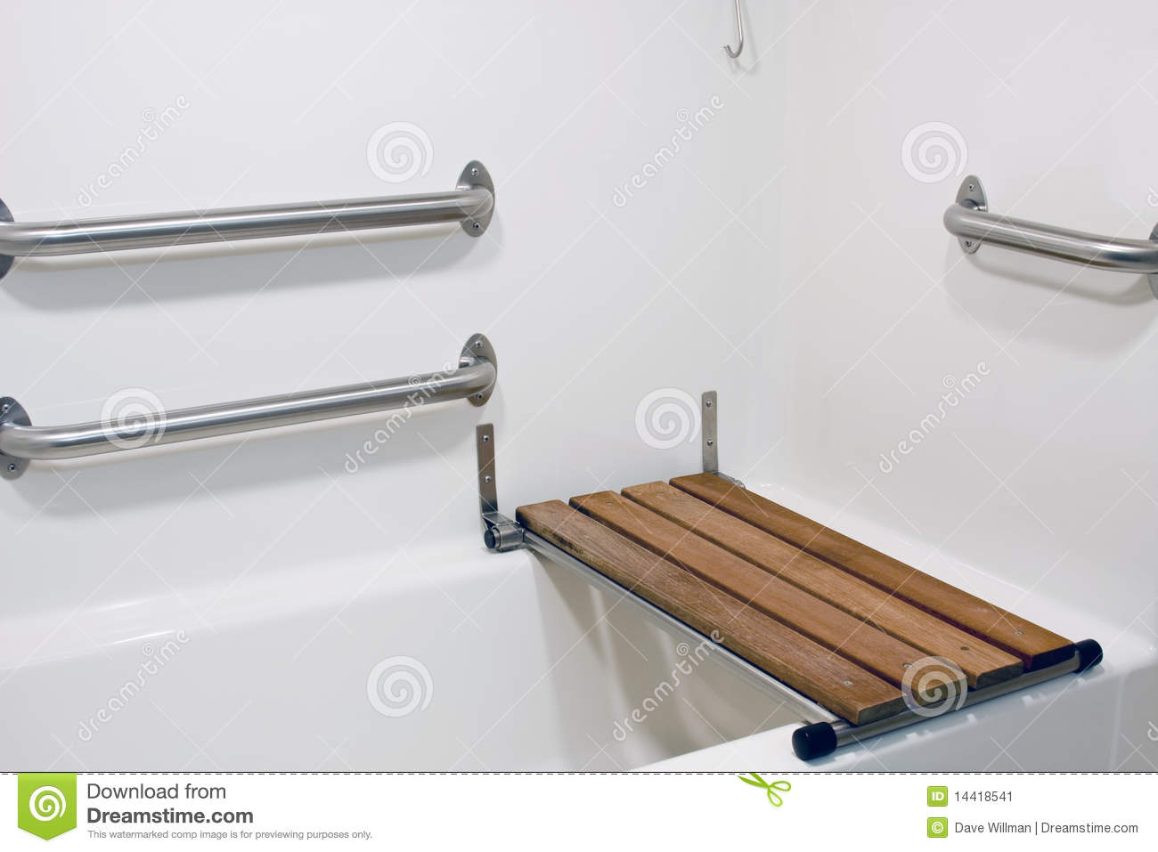 wooden bench seat on a handicap bathtub for the disabled